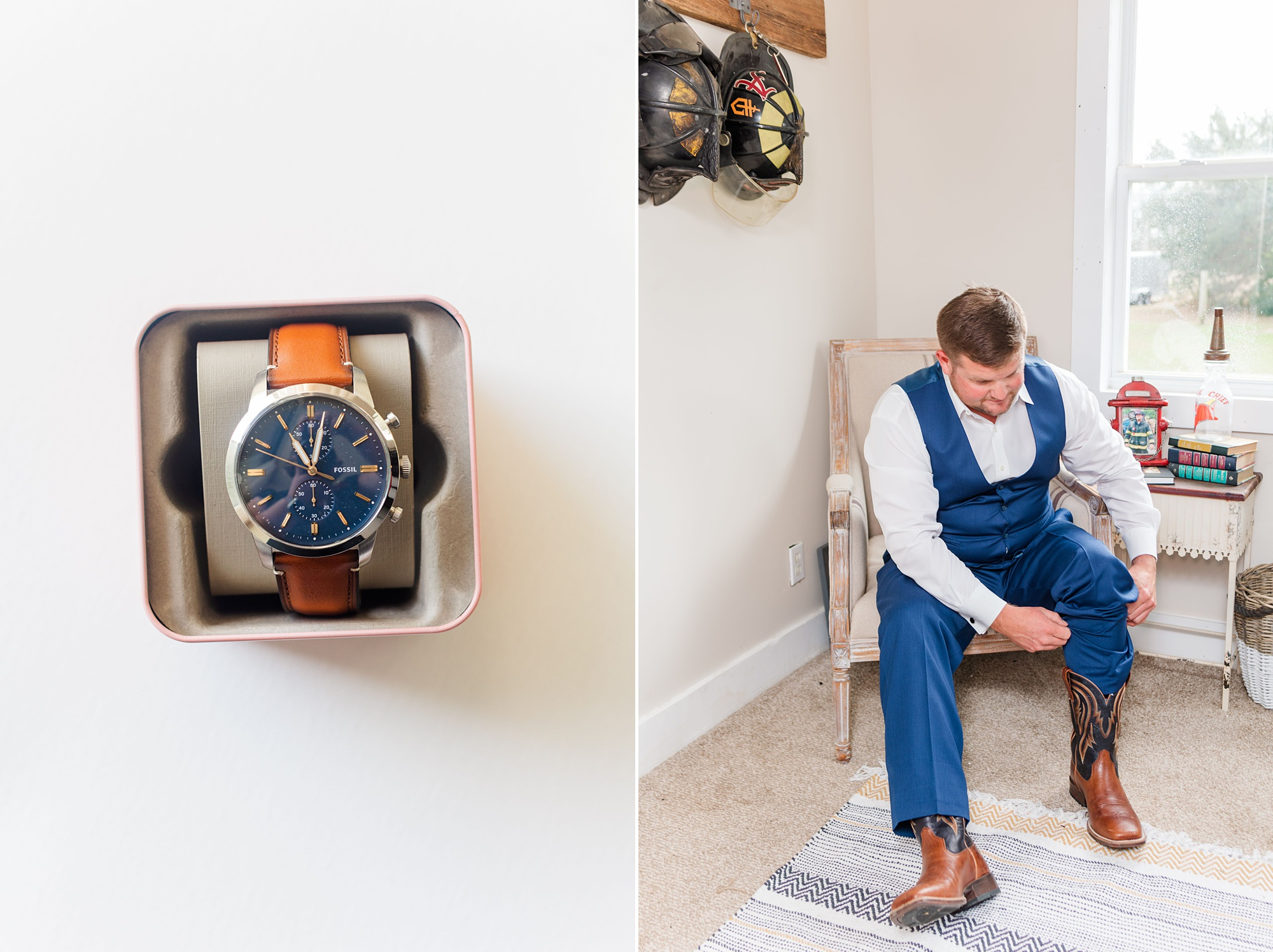 groom prepares at home for a New Year's Eve wedding