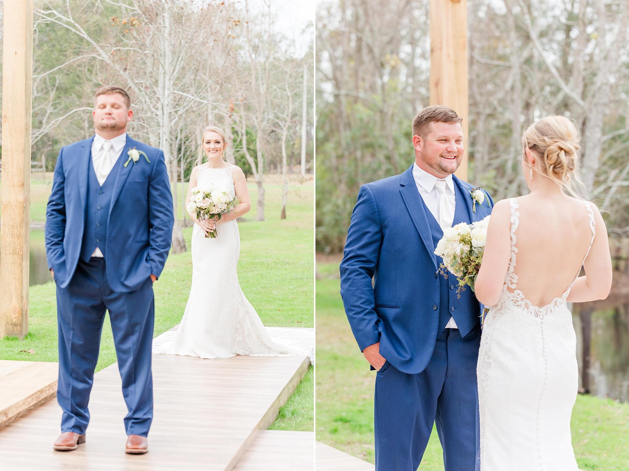 bride and groom have sweet first look in Magnolia Springs AL