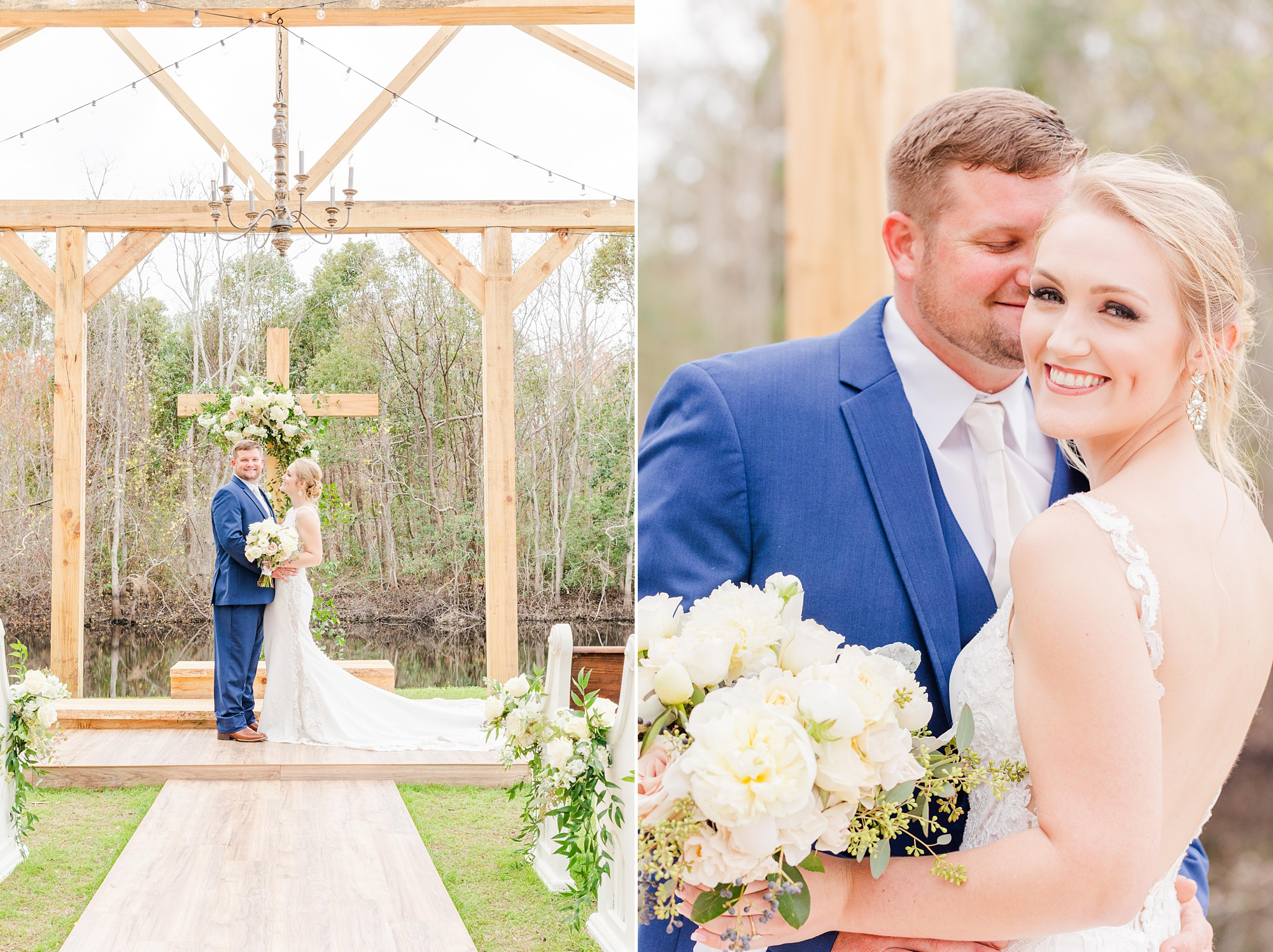 bride and groom pose by rustic ceremony site