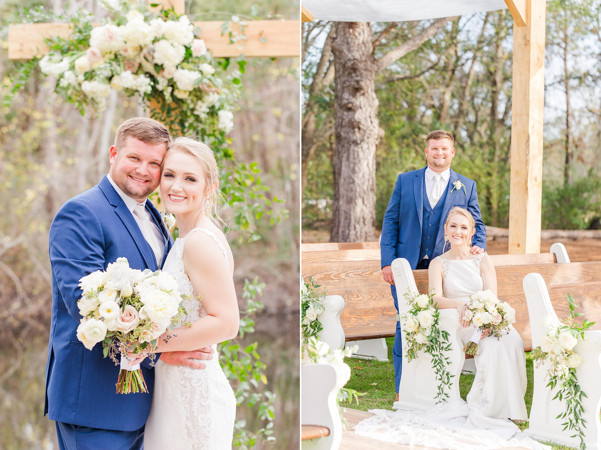 bride and groom pose inside wooden chapel