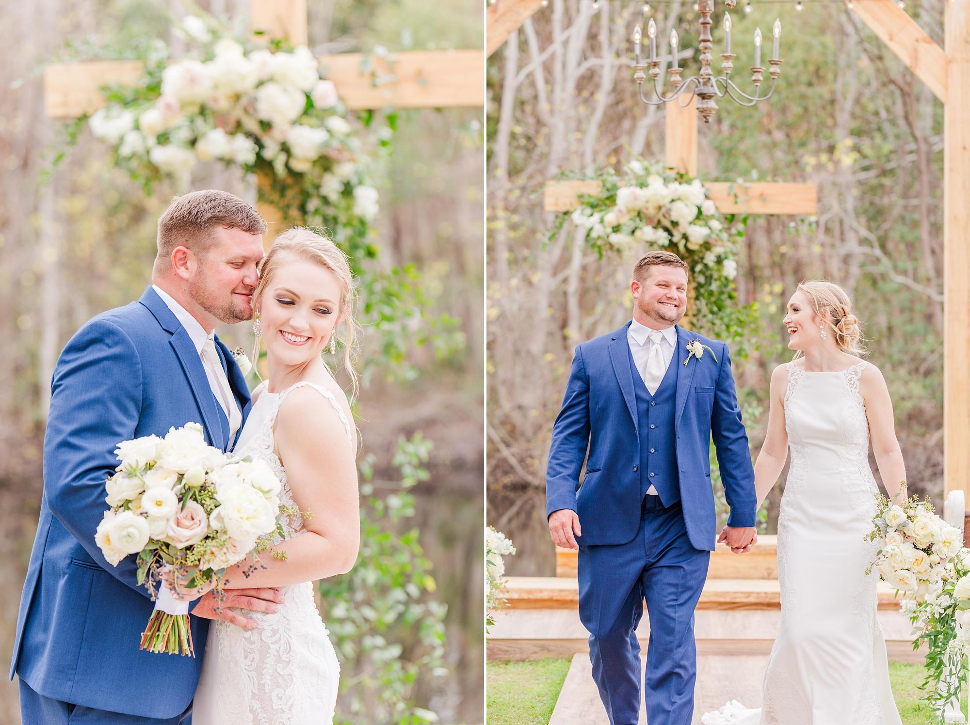 bride and groom walk down aisle in Magnolia Springs