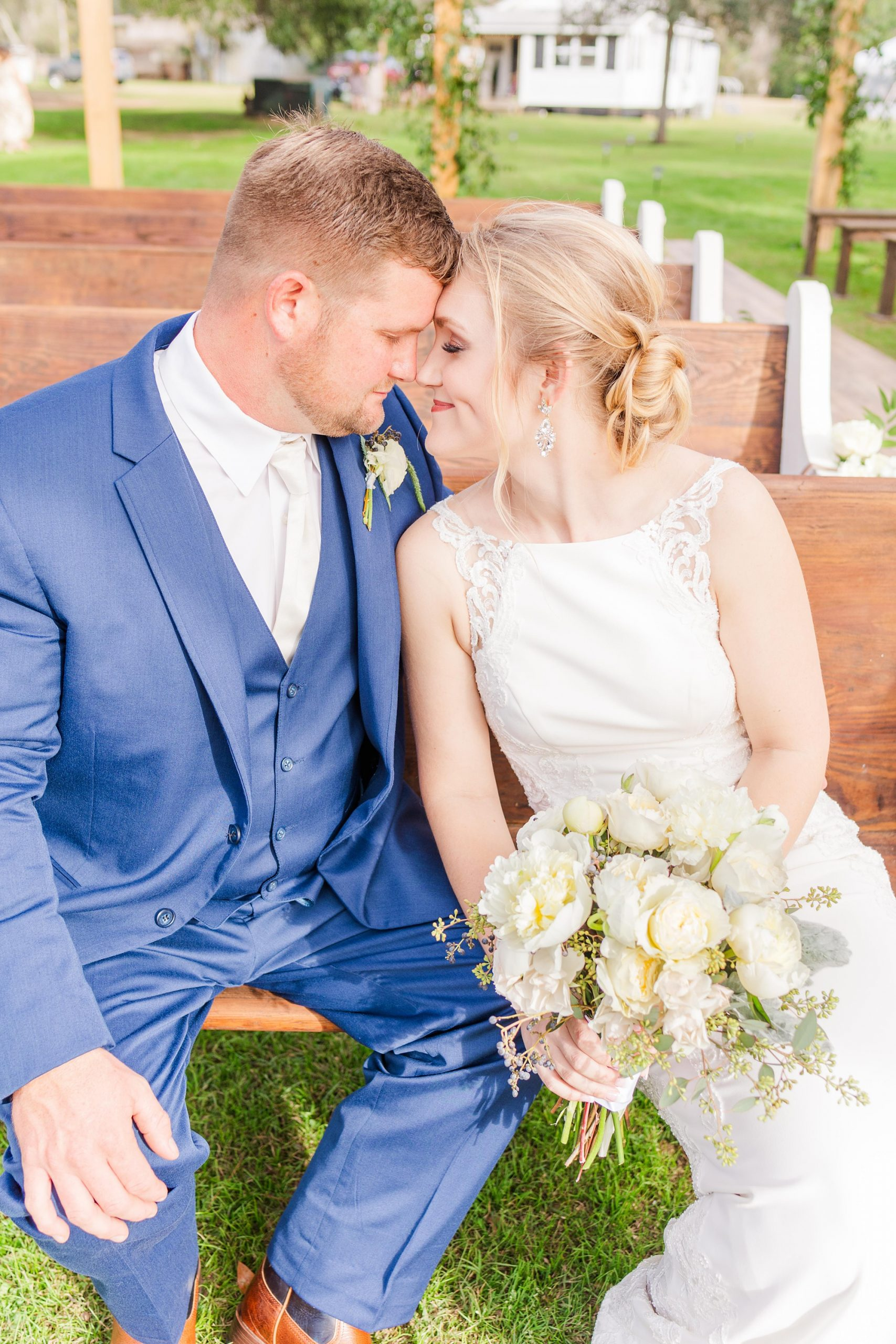 New Year's Eve wedding portraits on wooden pews