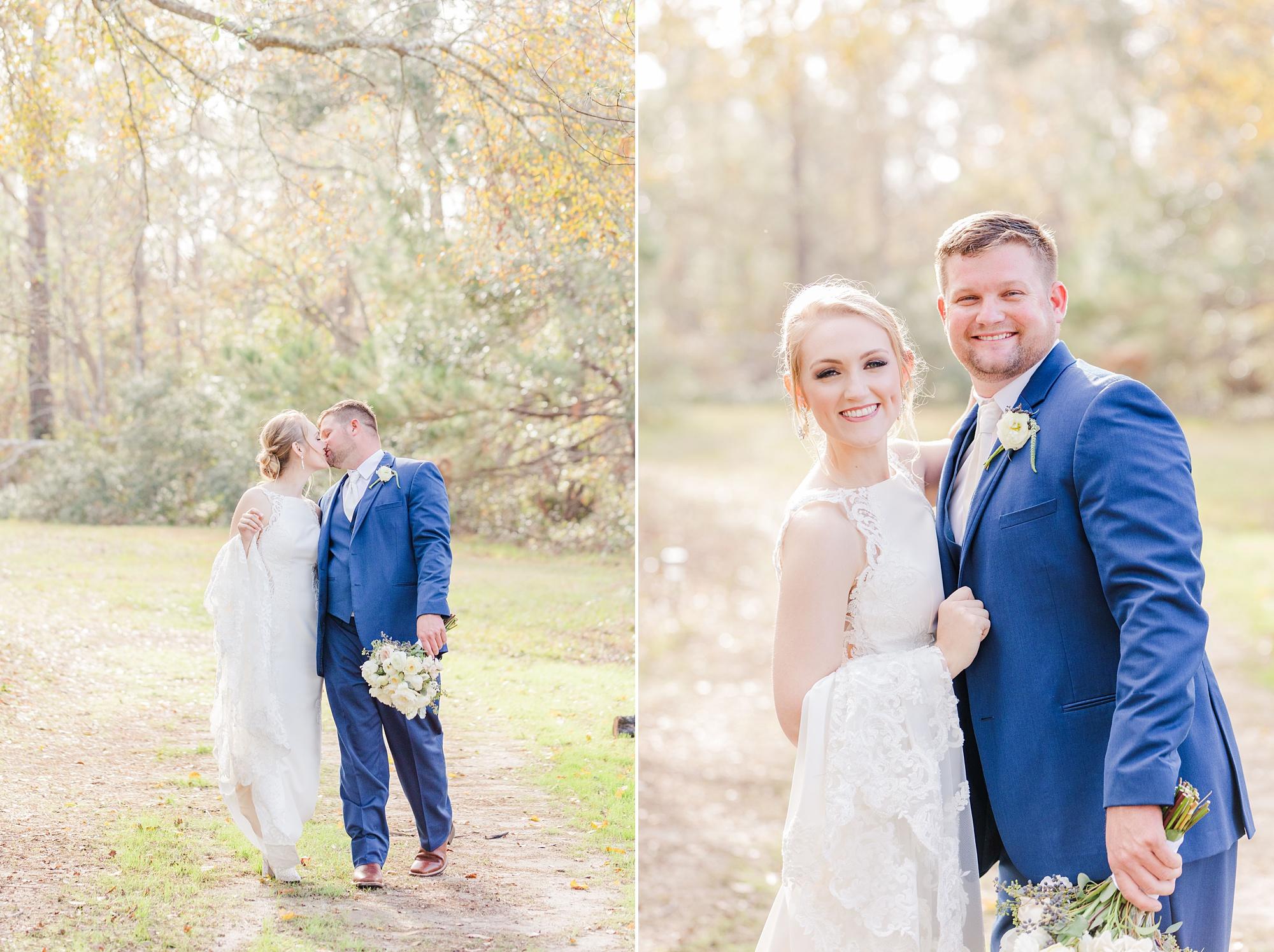 bride and groom walk on path around Magnolia Springs home