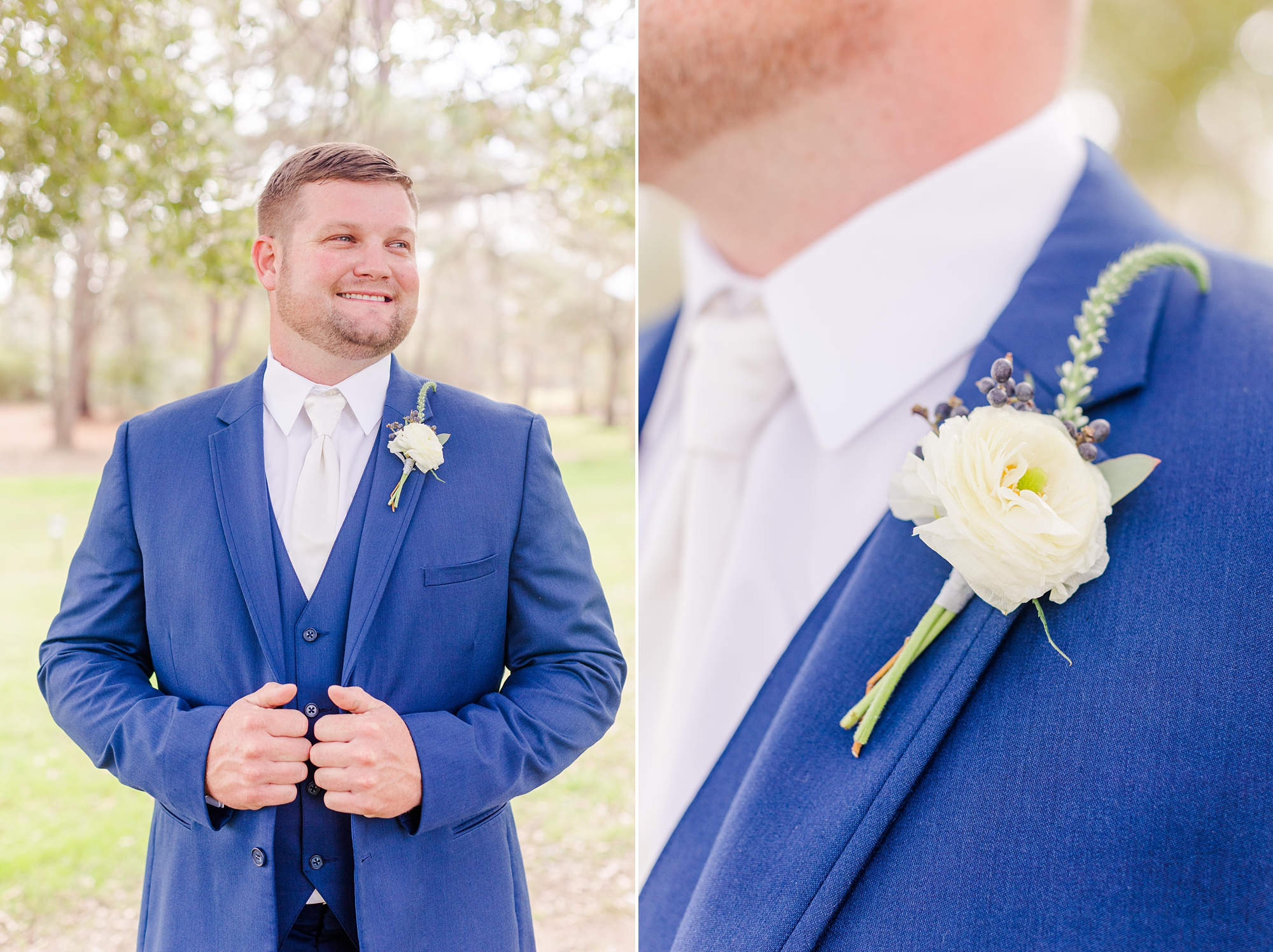 groom in blue suit with white boutonniere holds lapels