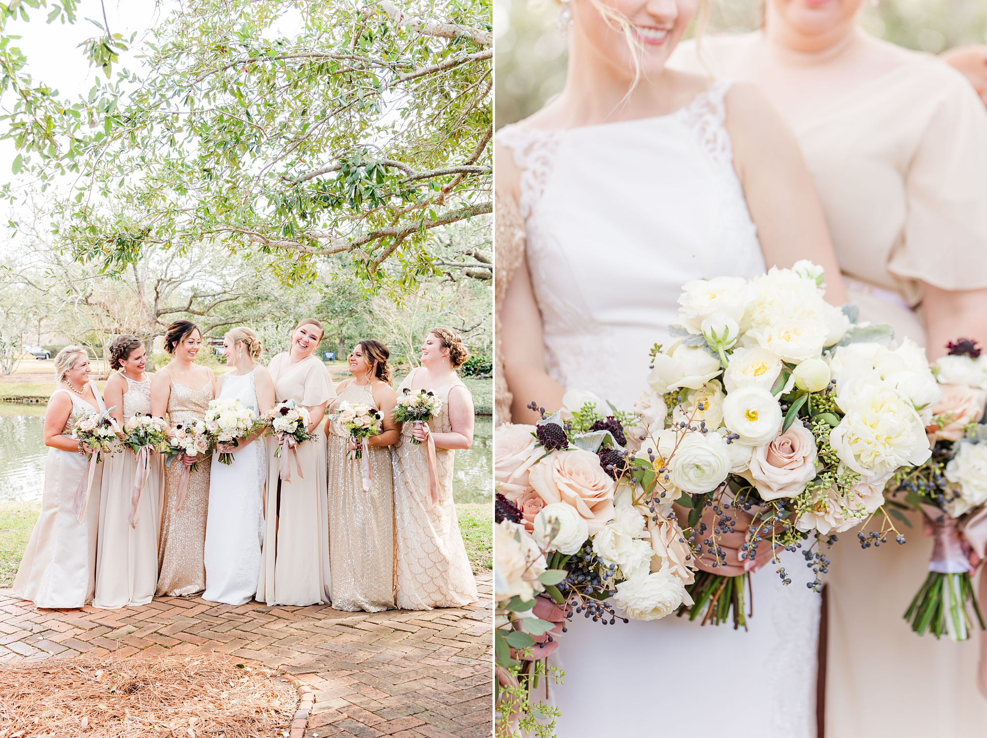 bride and bridesmaids in champagne gowns hold pastel bouquets