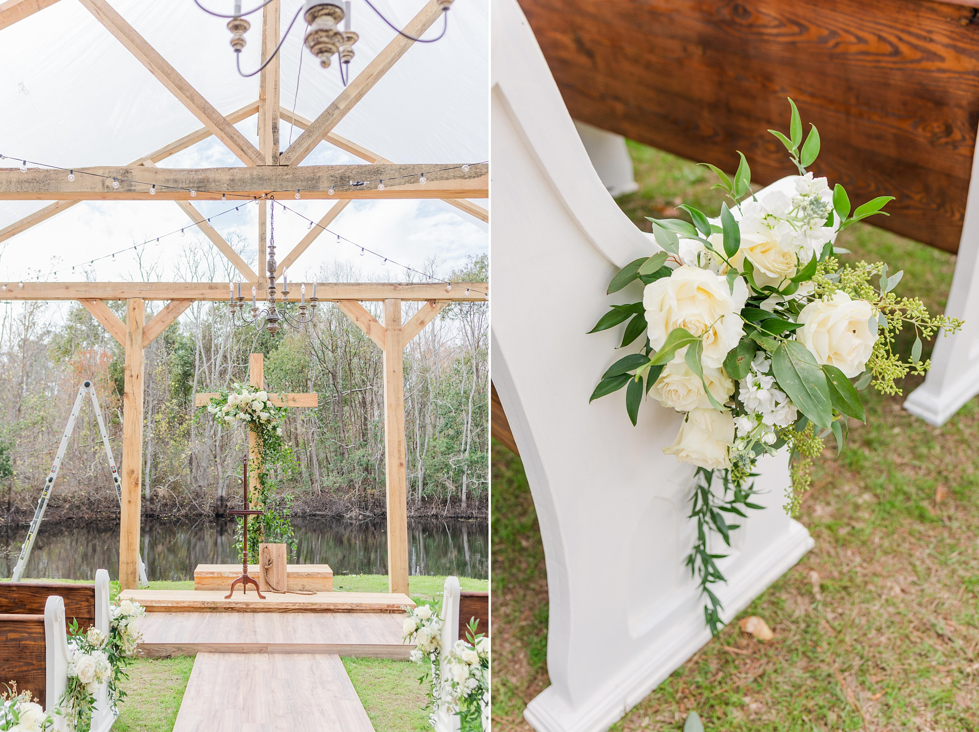 wooden pews for outdoor New Year's Eve wedding