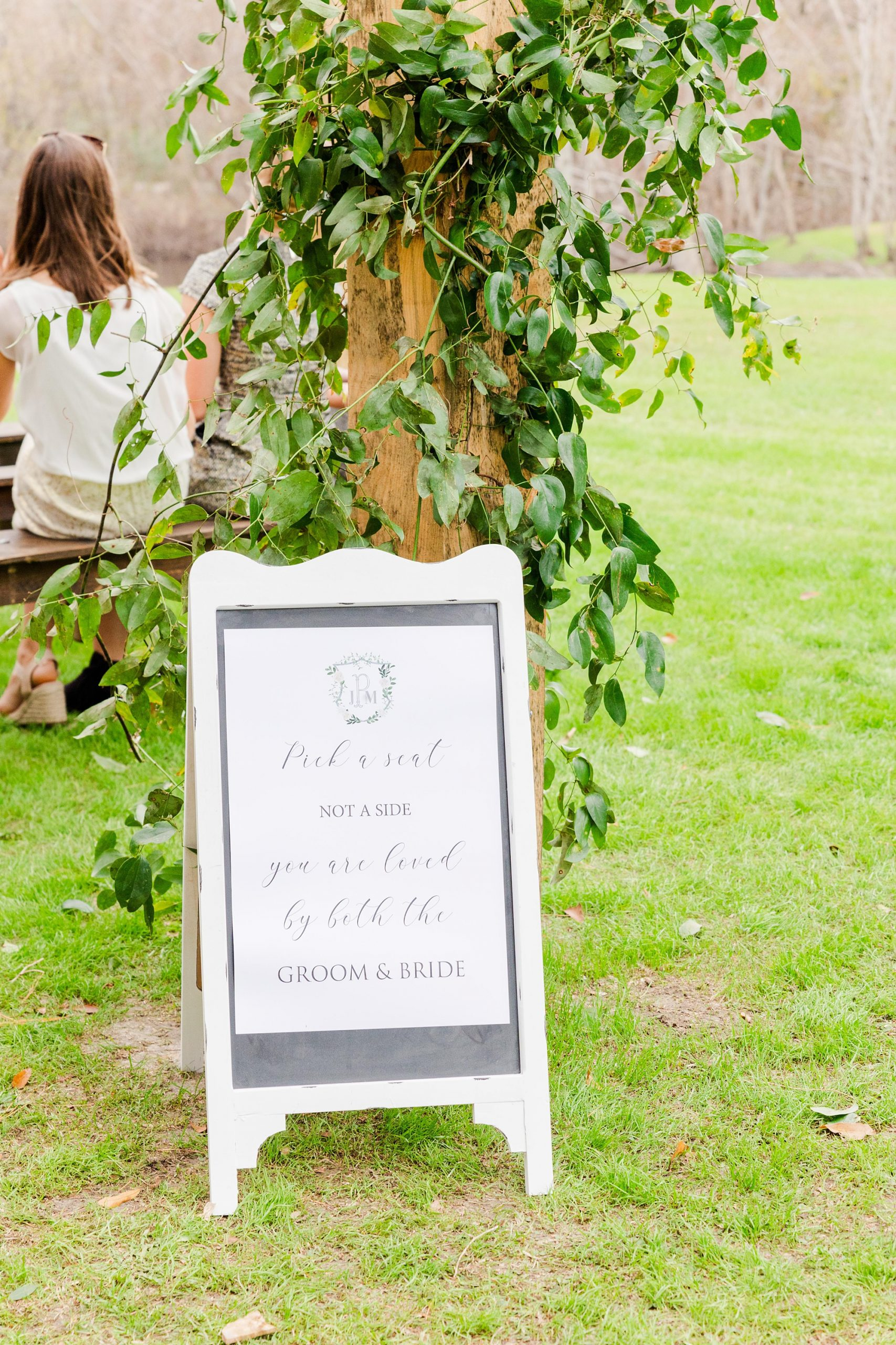 welcome sign for outdoor New Year's Eve wedding ceremony
