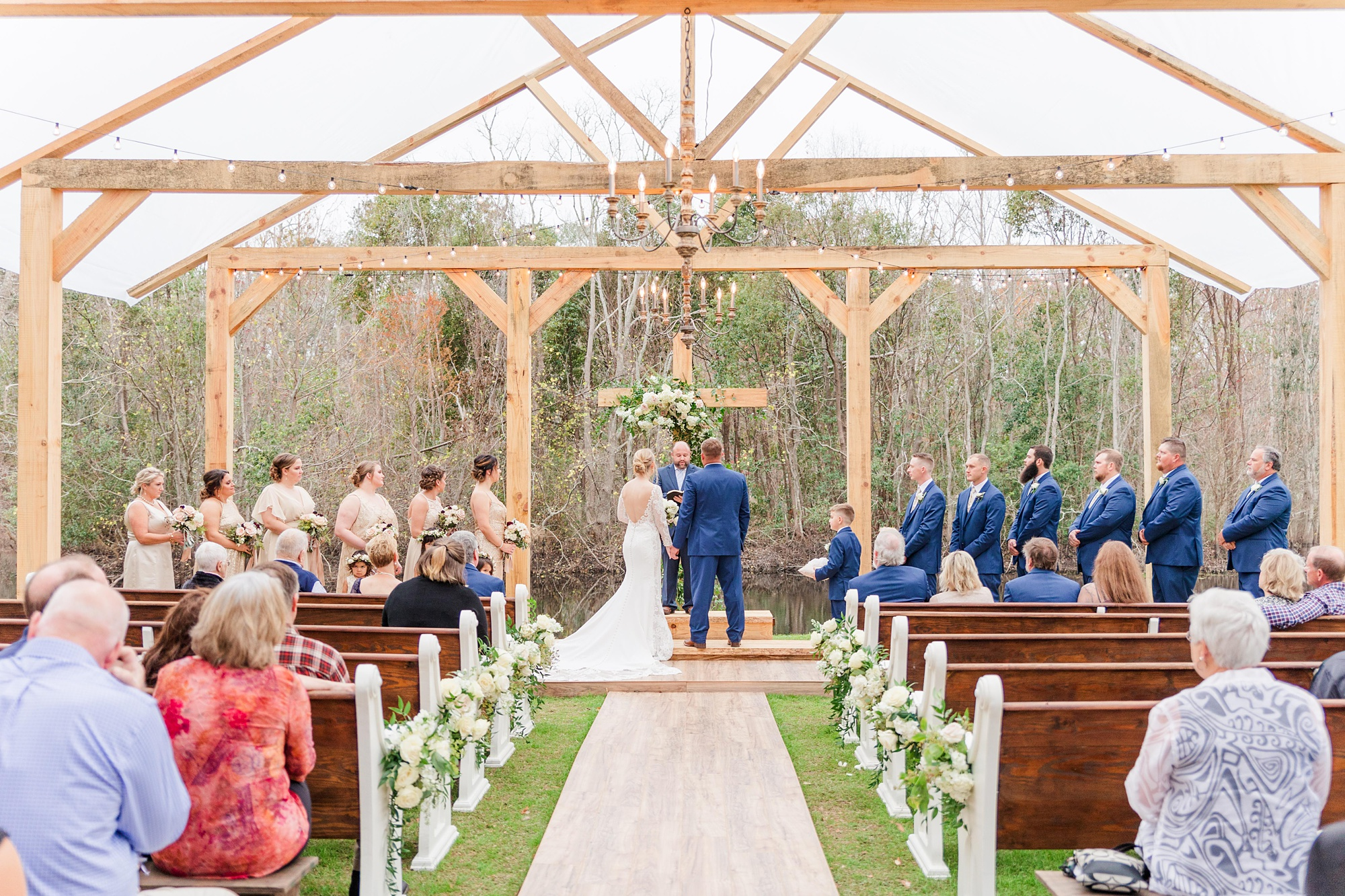 New Year's Eve wedding in wooden chapel