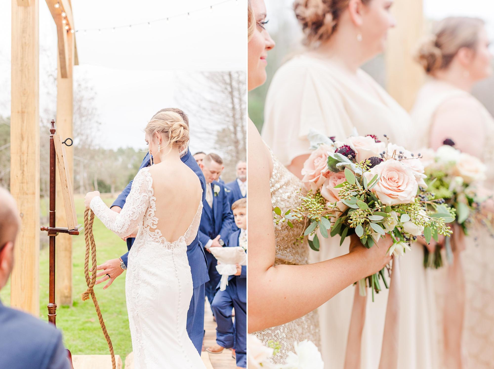 bride and groom tie knot