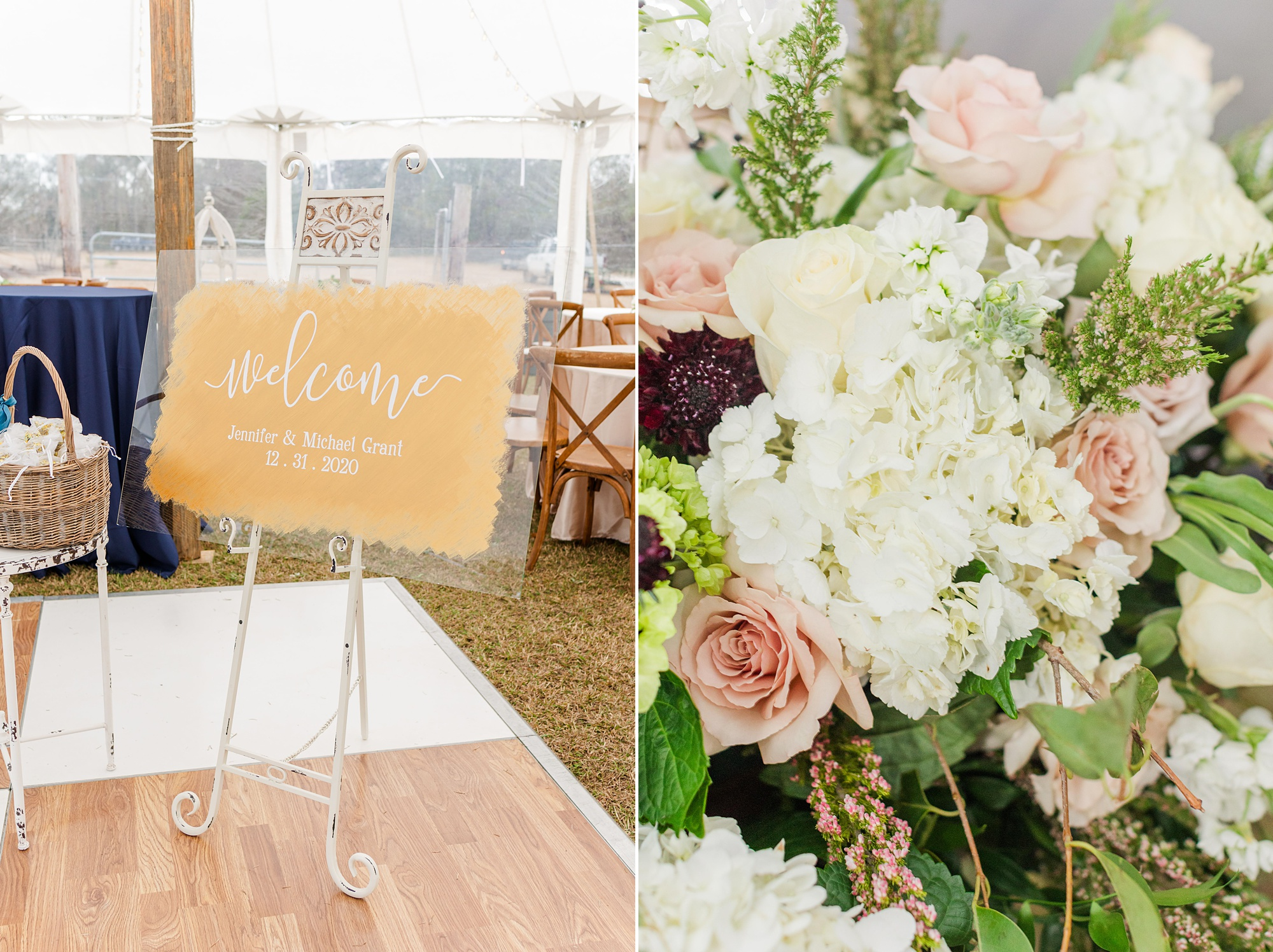 rustic New Year's Eve wedding reception under tent