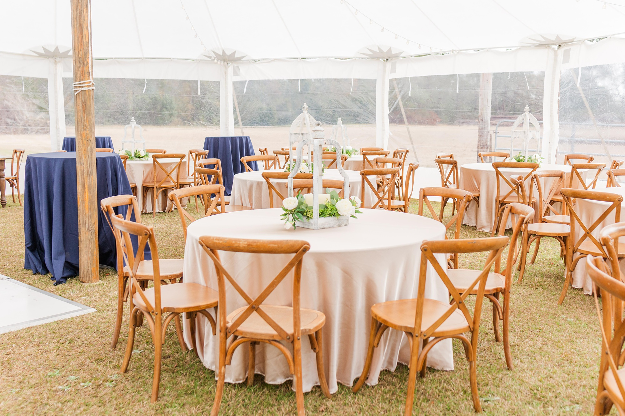 wooden tables and blush table cloths for New Year's Eve wedding