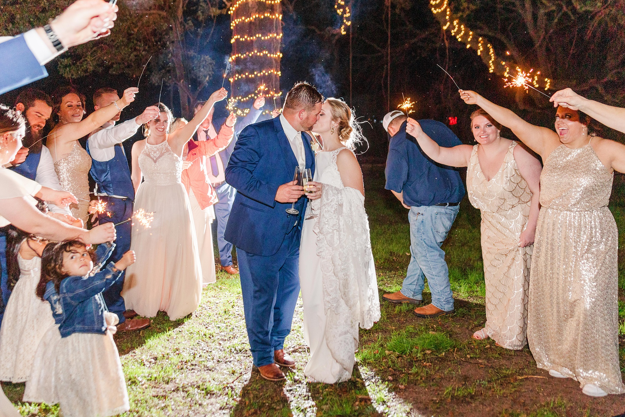 sparkler exit for New Year's Eve wedding