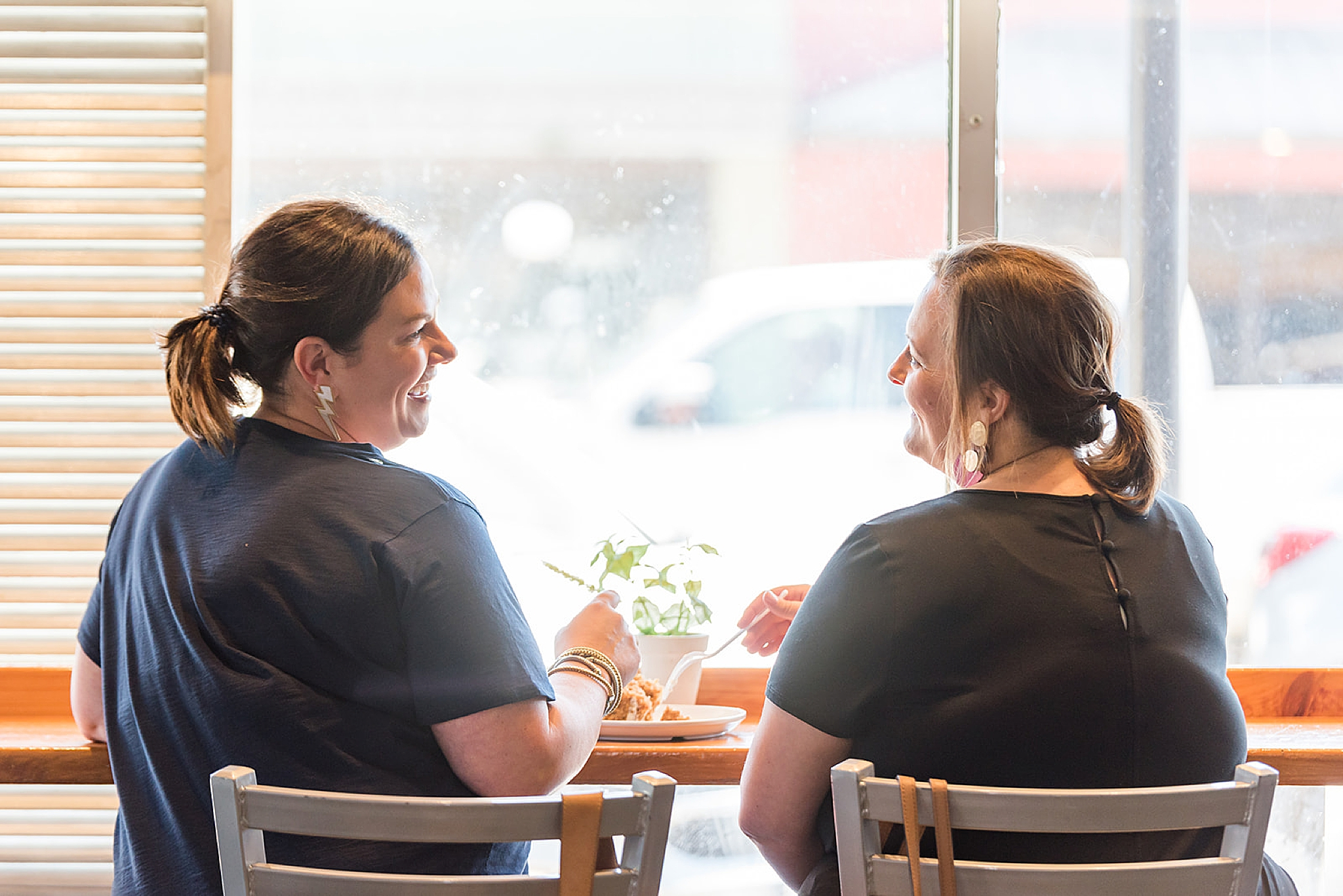 business owners chat during Fairhope AL branding portraits