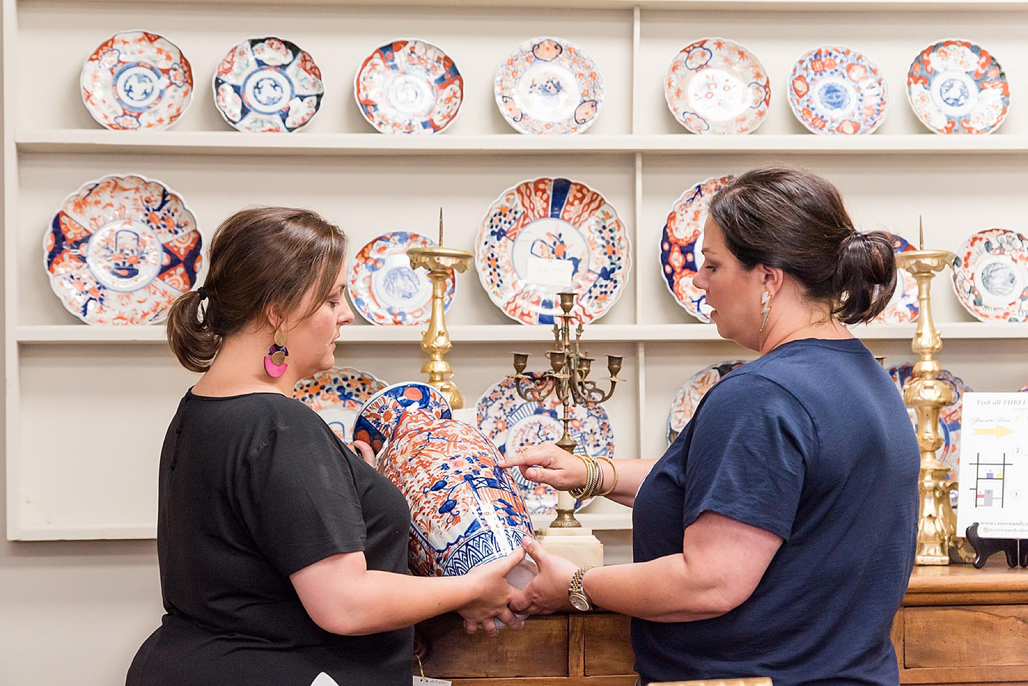 women shop in antique shop during Fairhope AL branding photos