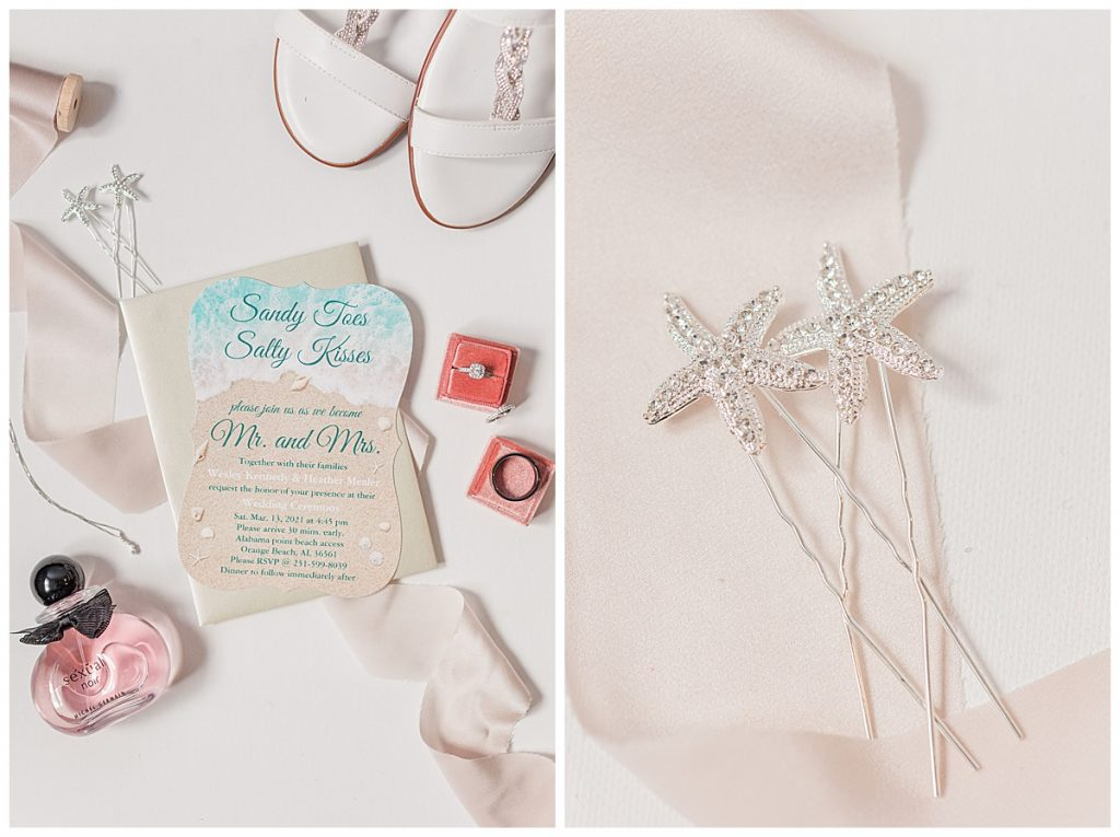 Beach wedding styled invitation and bridal details