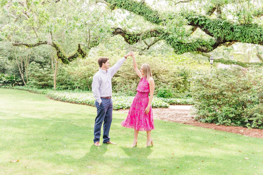 Bride and Groom Dancing at their Grand Hotel Engagement Session