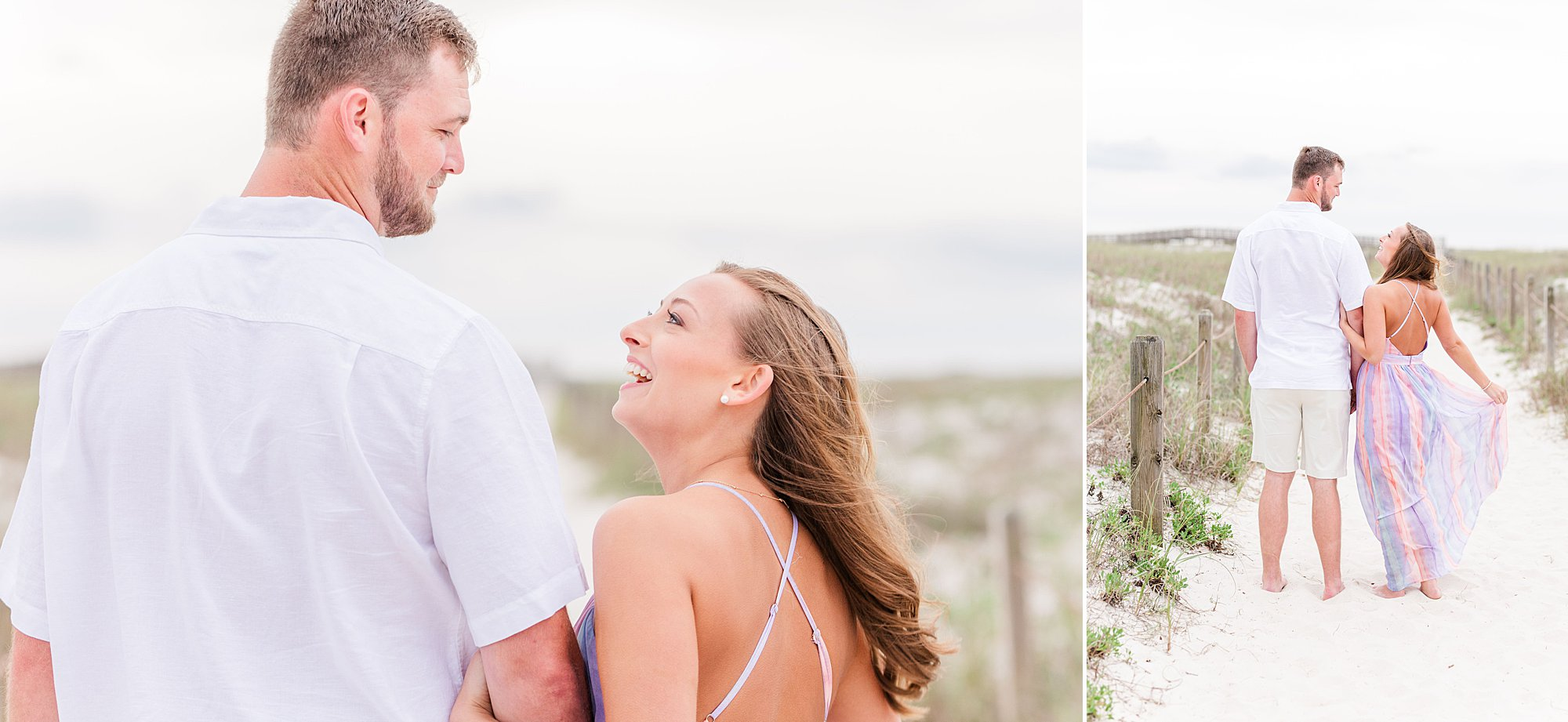 Bride laughing with her groom at their beach engagement session in Orange Beach, Alabama