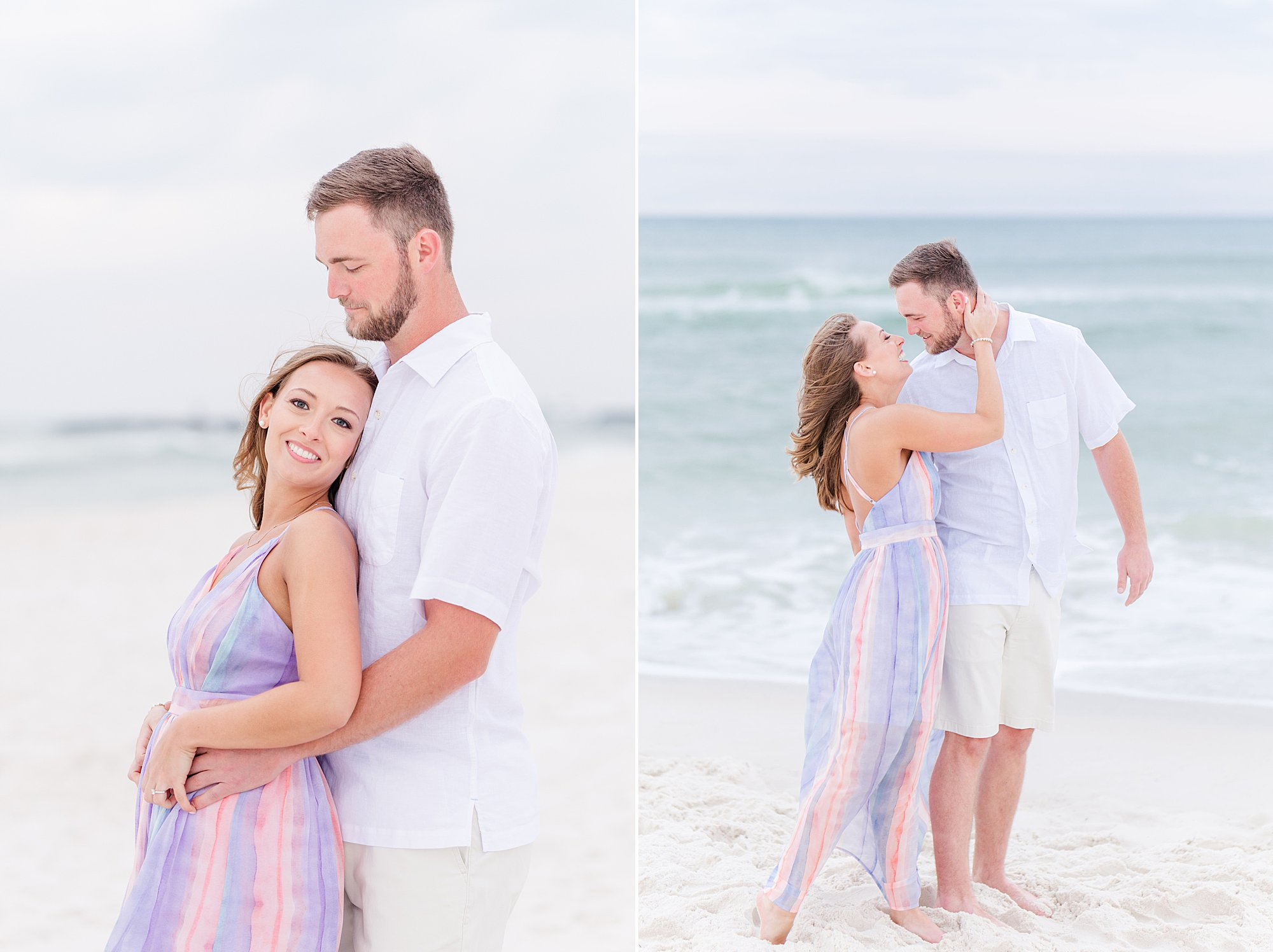 Bride and Groom snuggling at the beach engagement session in Orange Beach, Alabama