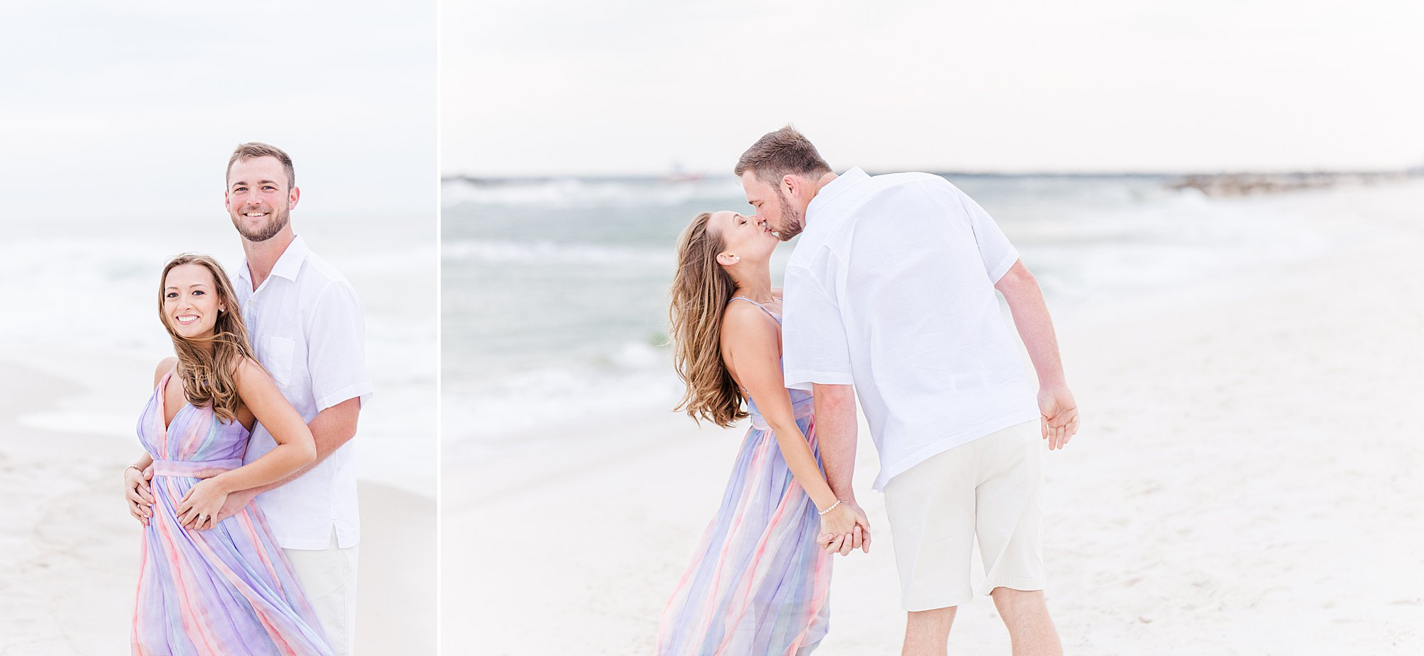 Bride and Groom kissing on the beach at their engagement session in Orange Beach, Alabama