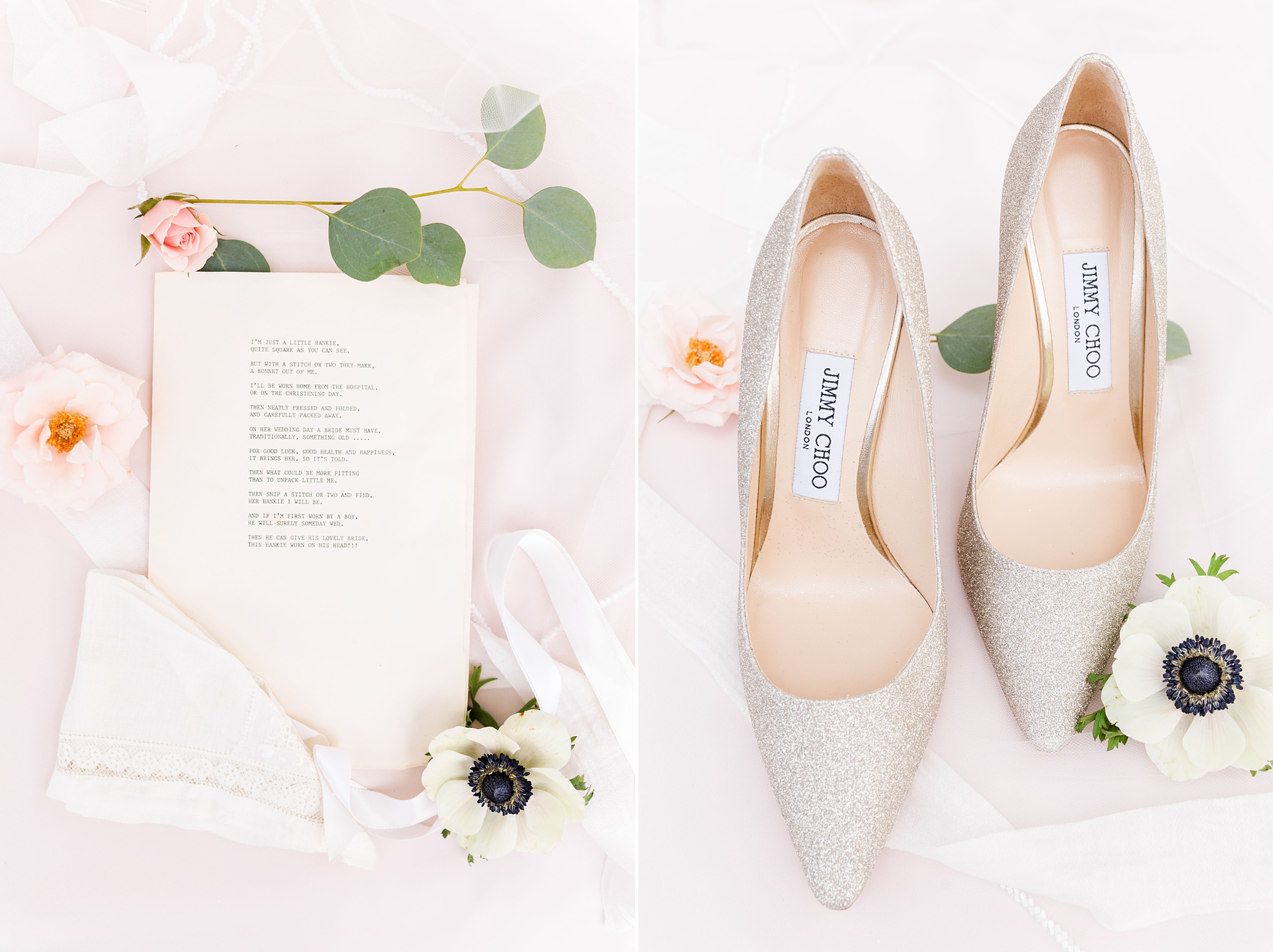 spring wedding day details and bride's shoes