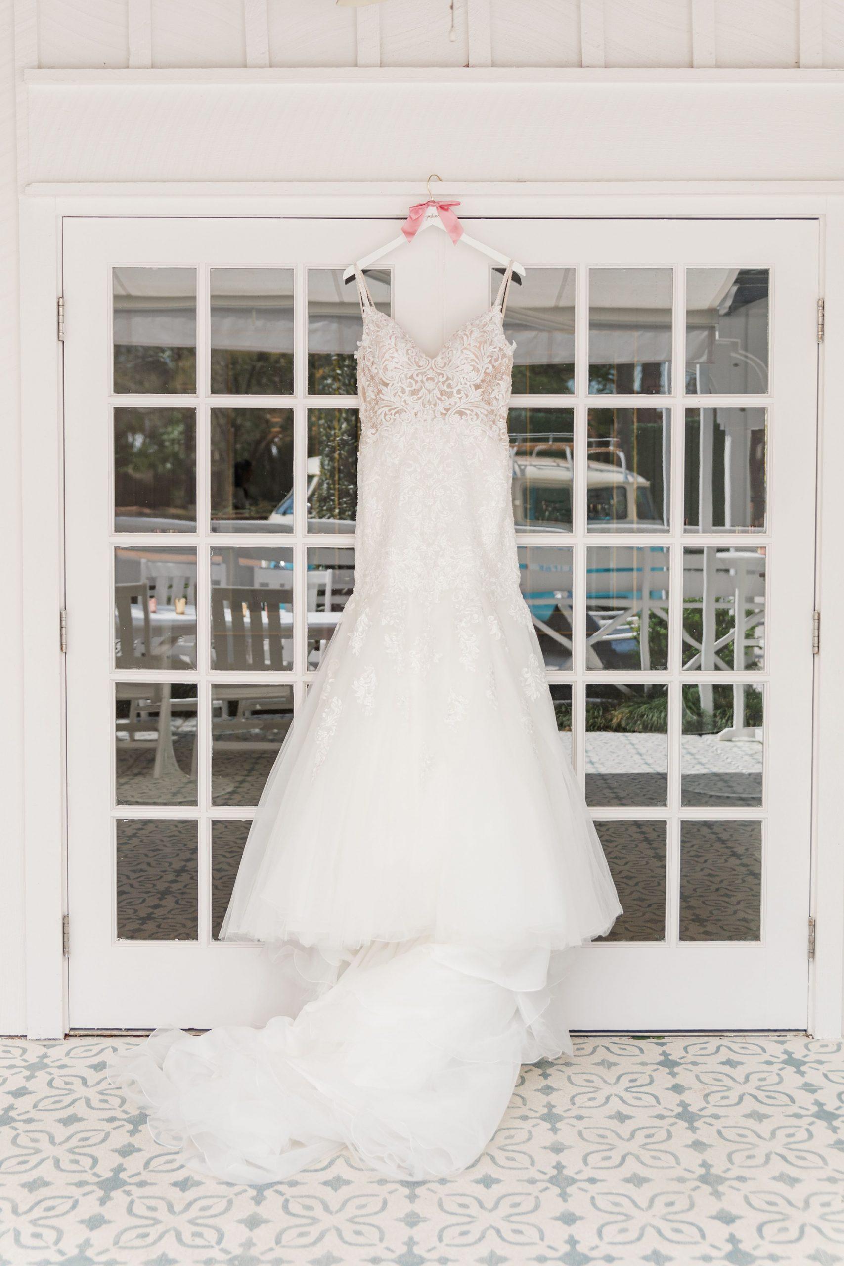 wedding dress hangs at The Grand Hotel