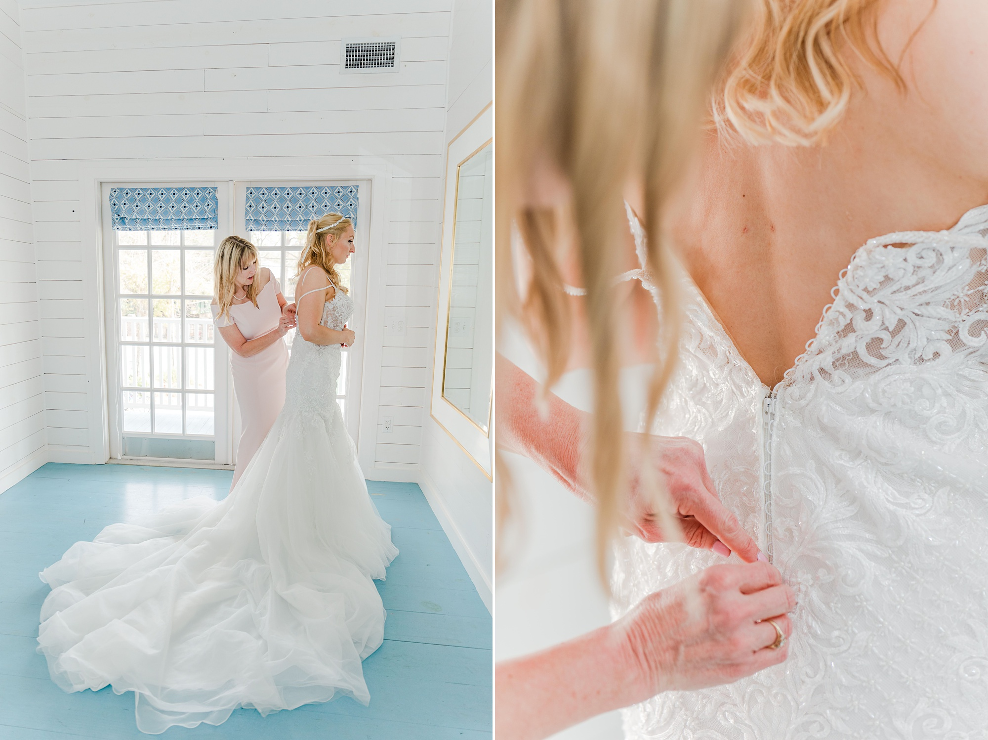 bride gets into wedding dress with mother's help