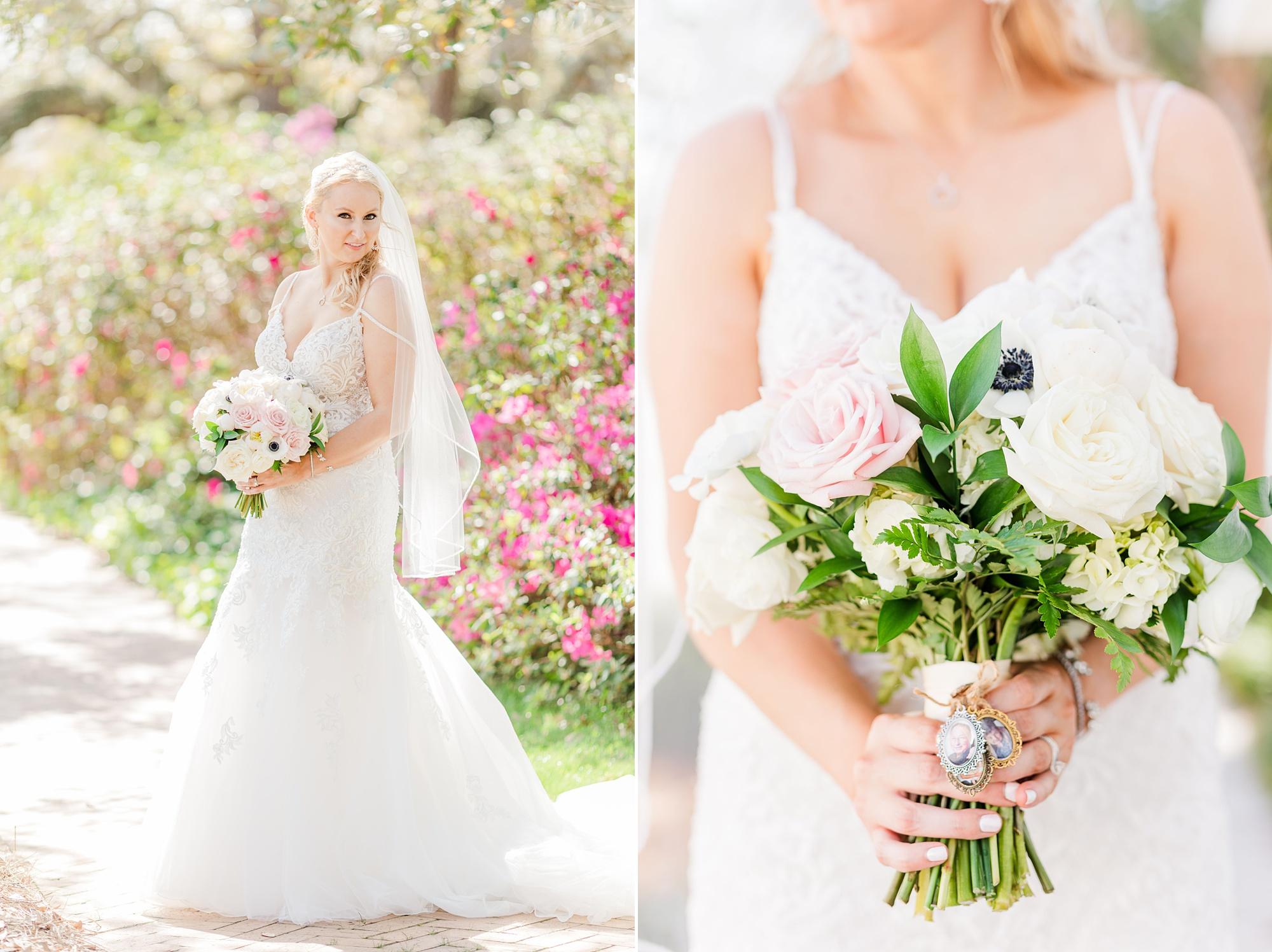 bride holds bouquet of pale flowers in Fairhope AL