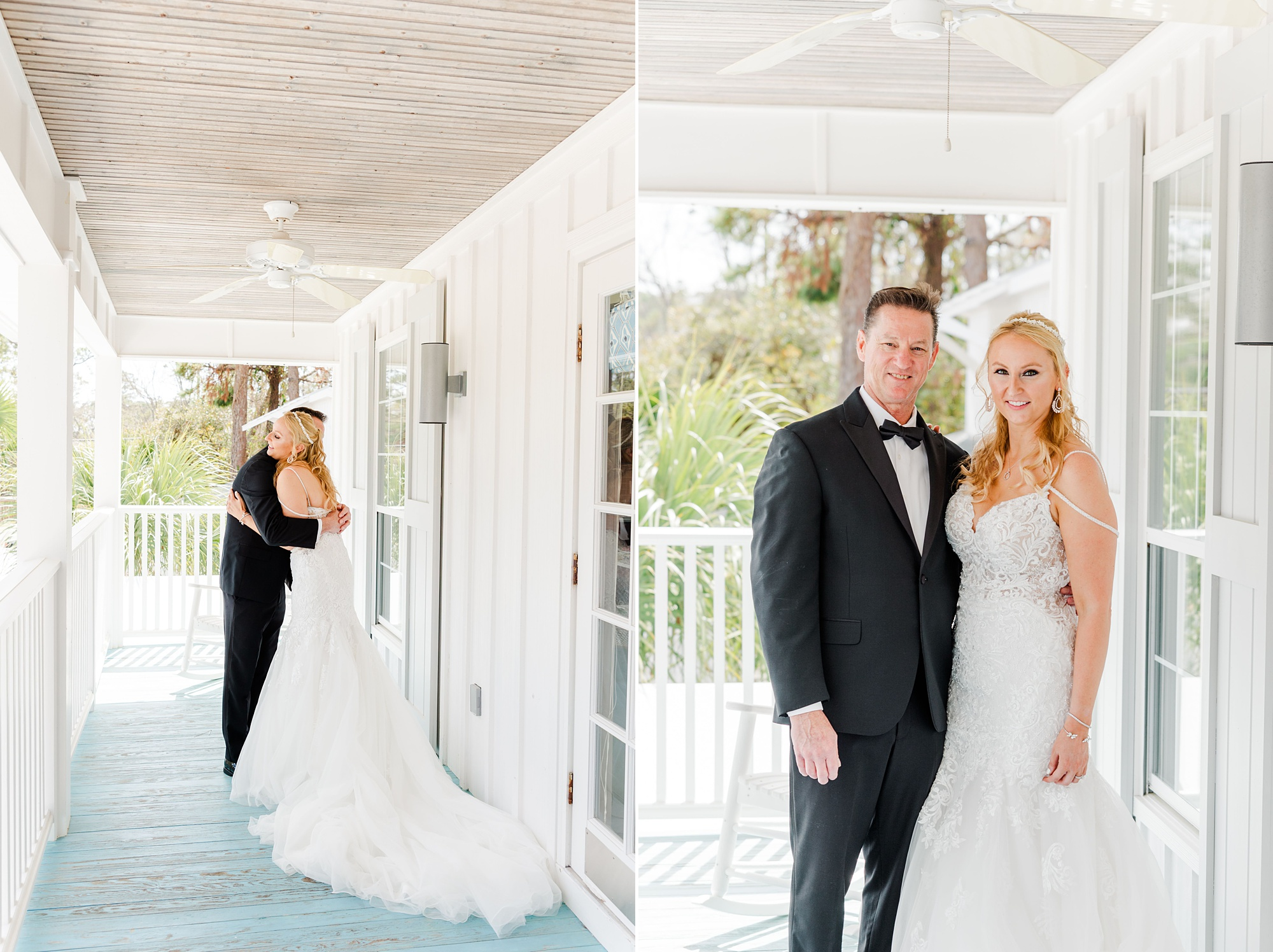 bride has first look with father at The Grand Hotel