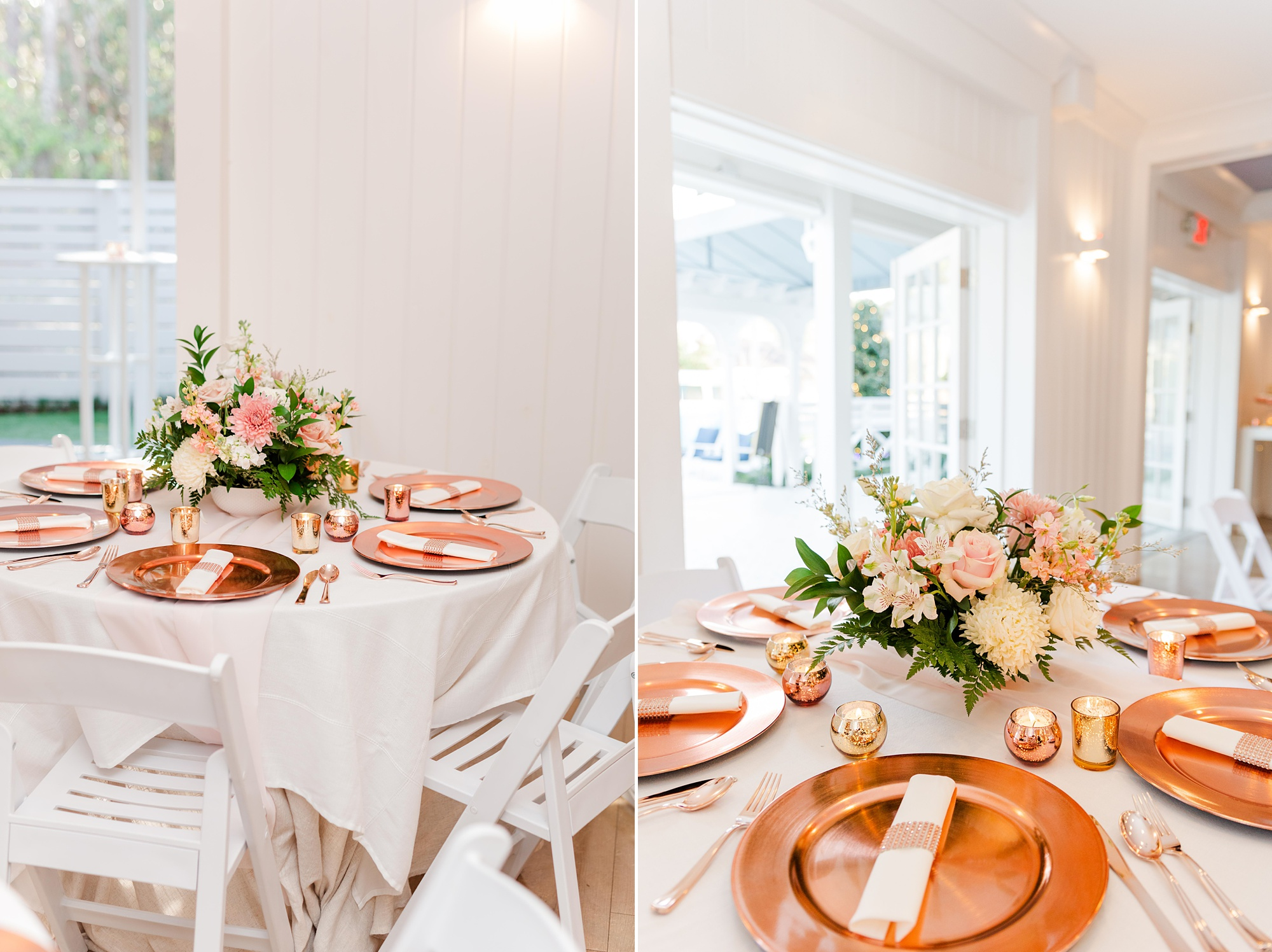 wedding reception with rose gold plates