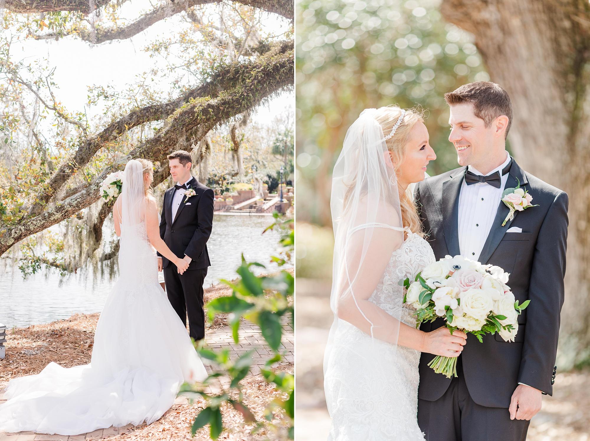 Alabama wedding portraits with bride and groom by tree