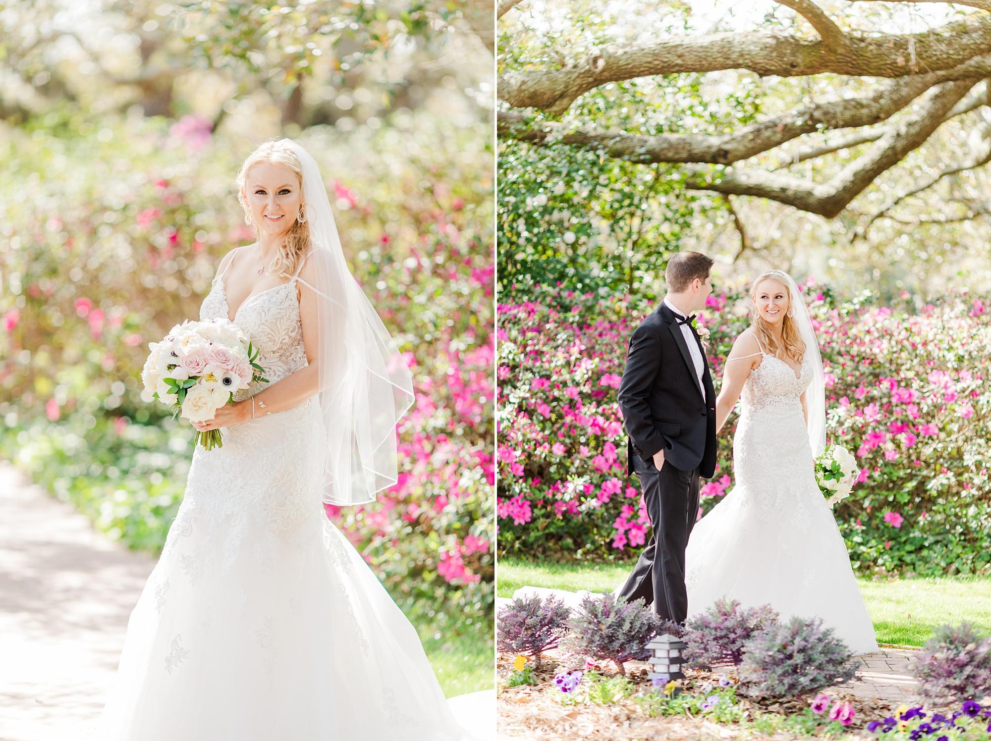 wedding portraits in Fairhope AL gardens
