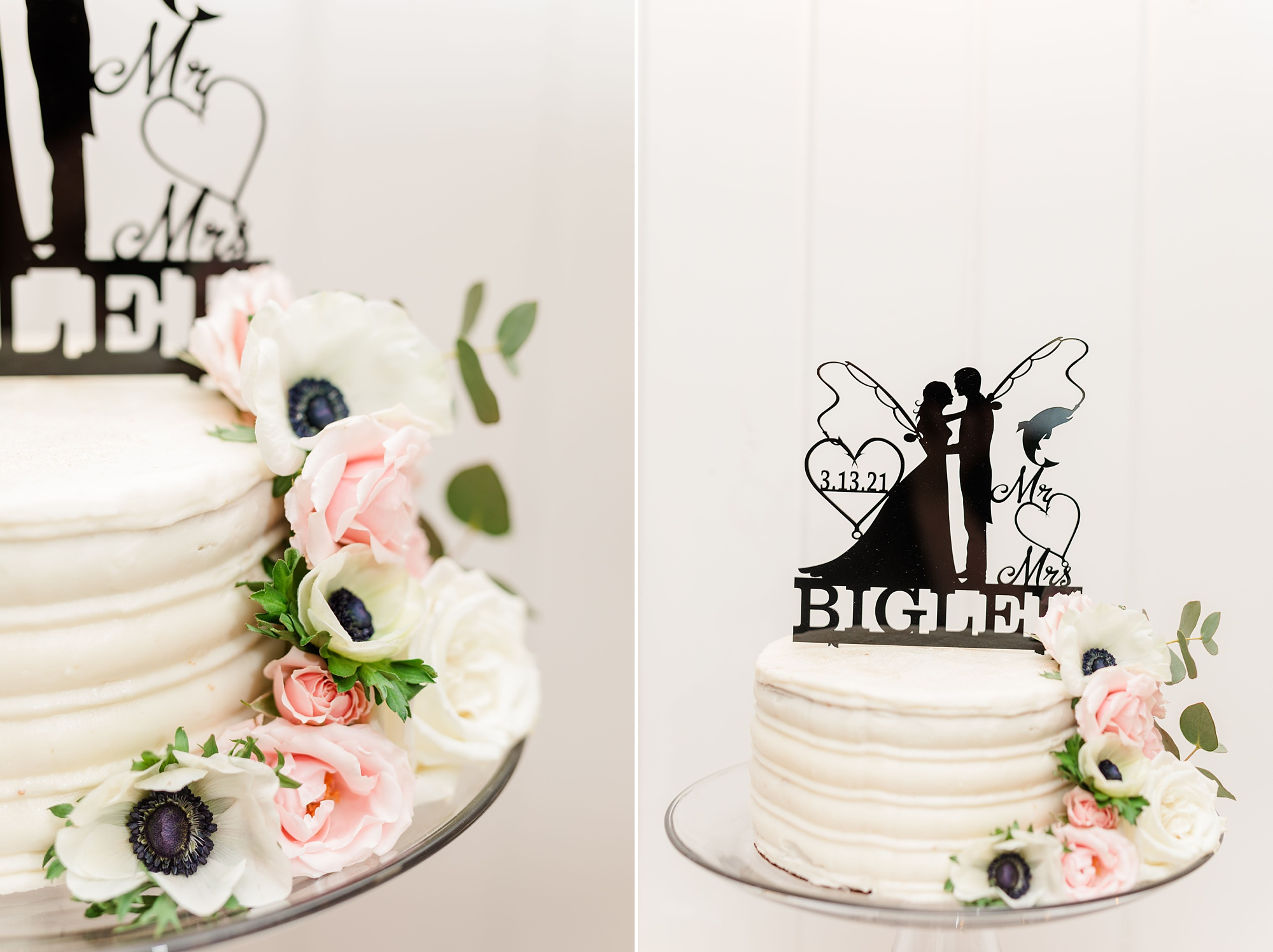 wedding cake with metal topper