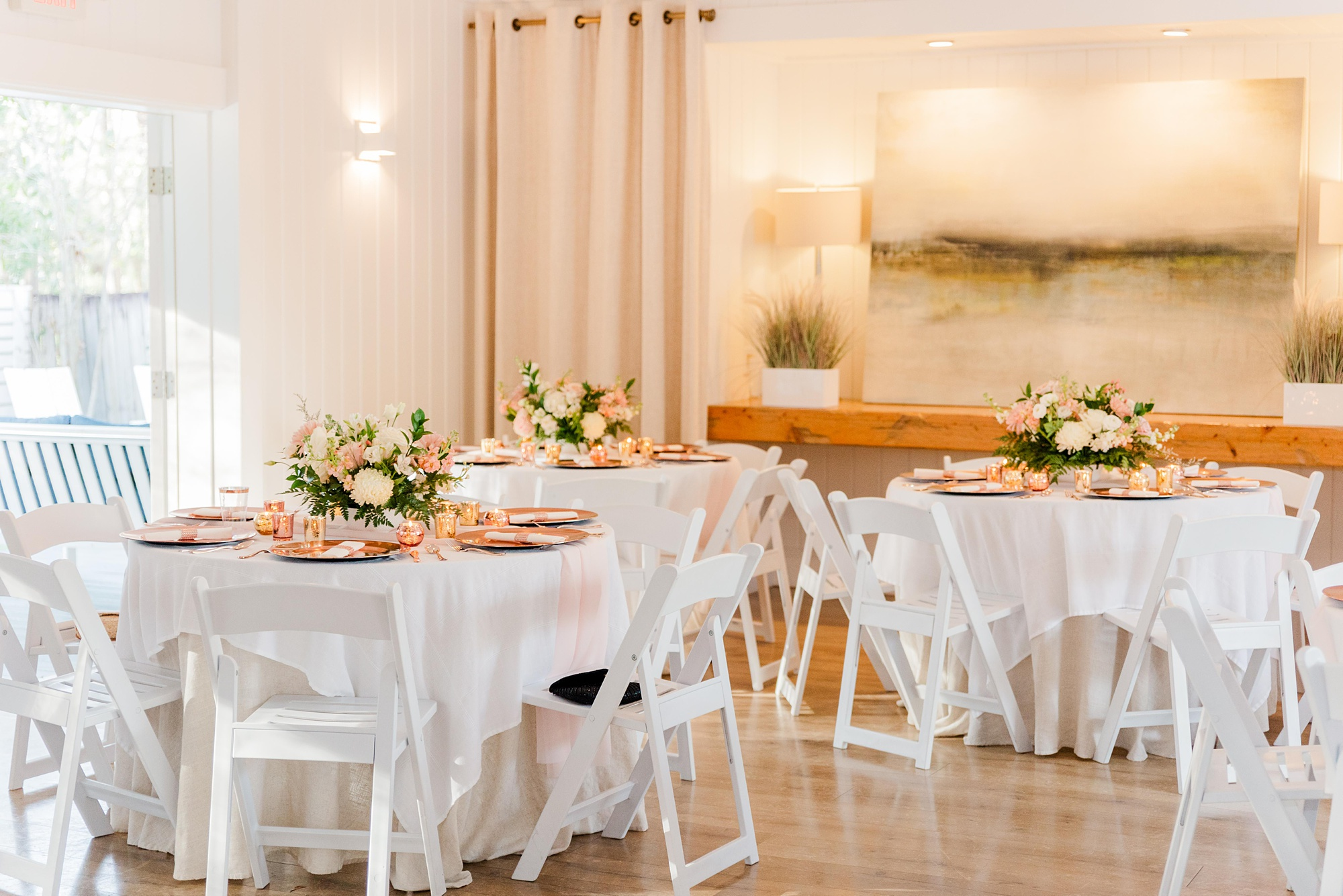 Little Point Clear wedding reception with pink and rose gold details