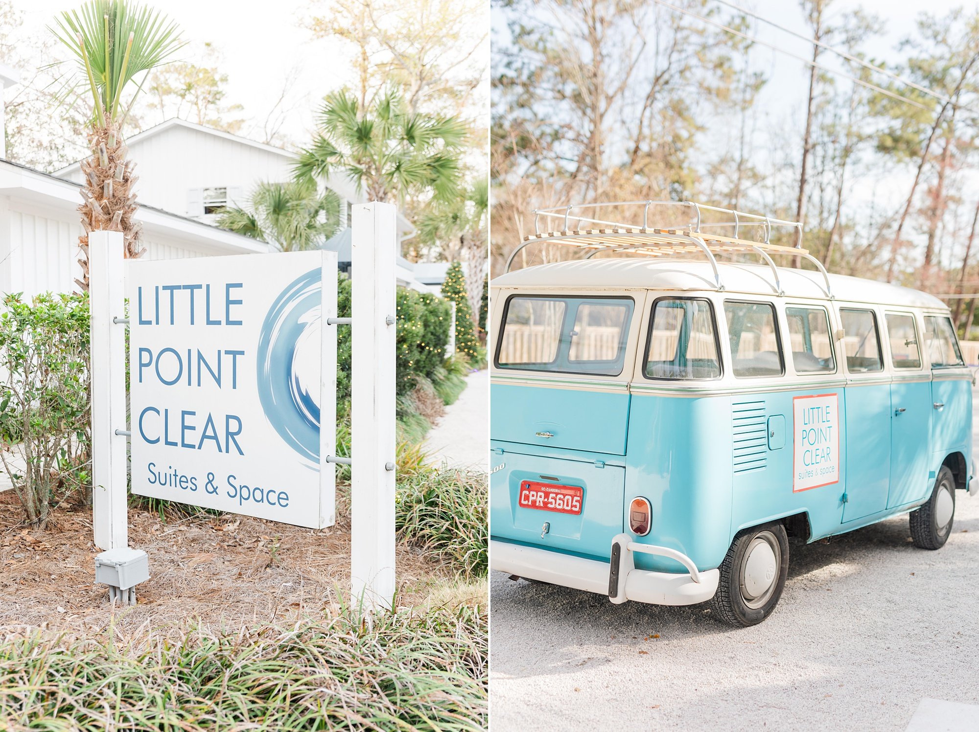 Little Point Clear wedding day with VW bus