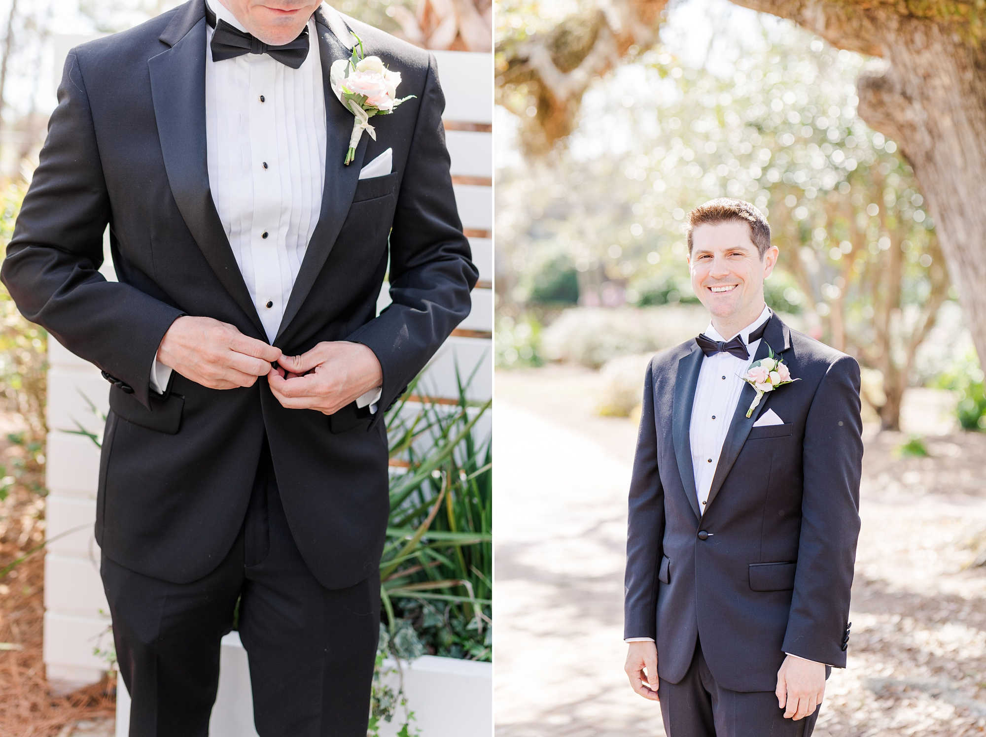 groom prepares for Alabama wedding day
