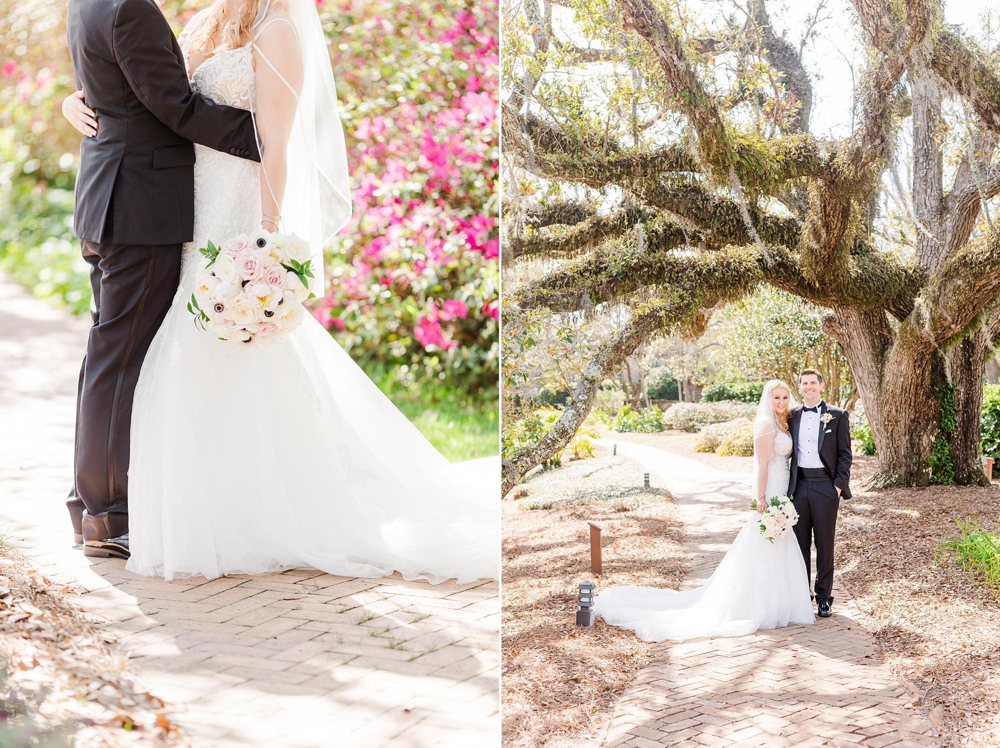 Fairhope AL wedding portraits in garden