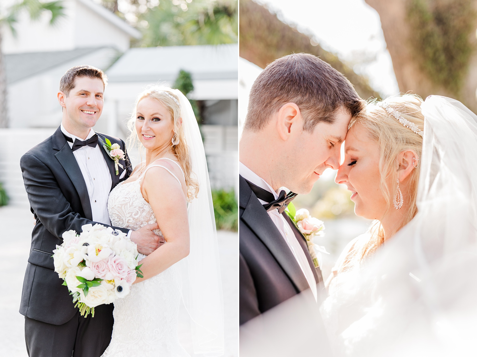 bride and groom pose with noses touching in Alabama