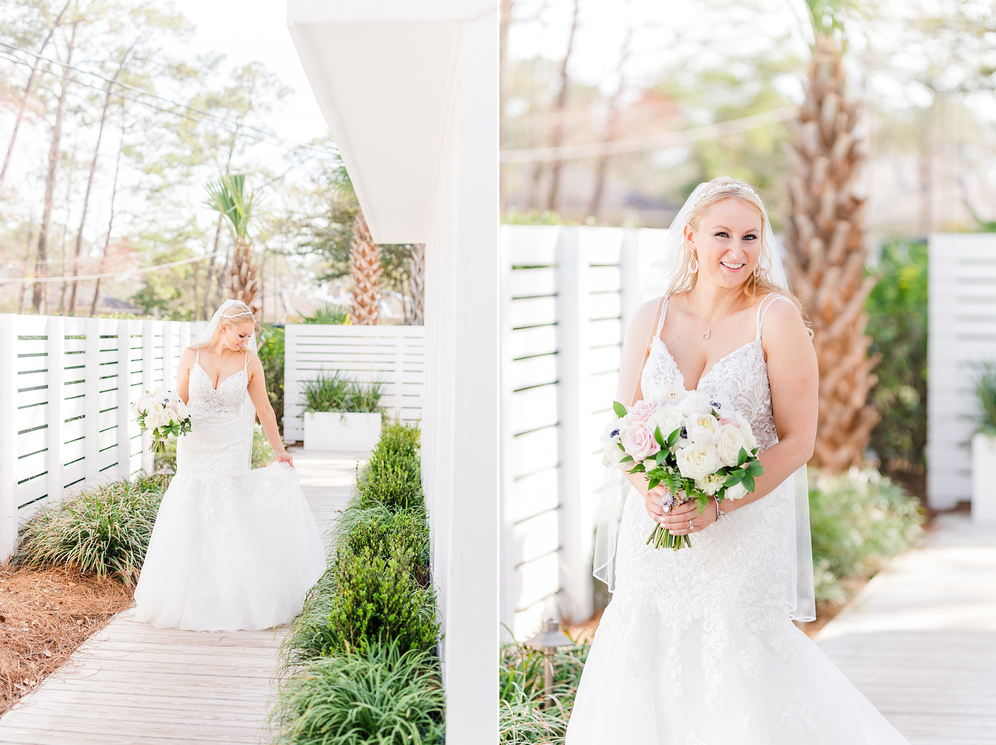 classic bridal portraits in the spring at Little Point Clear