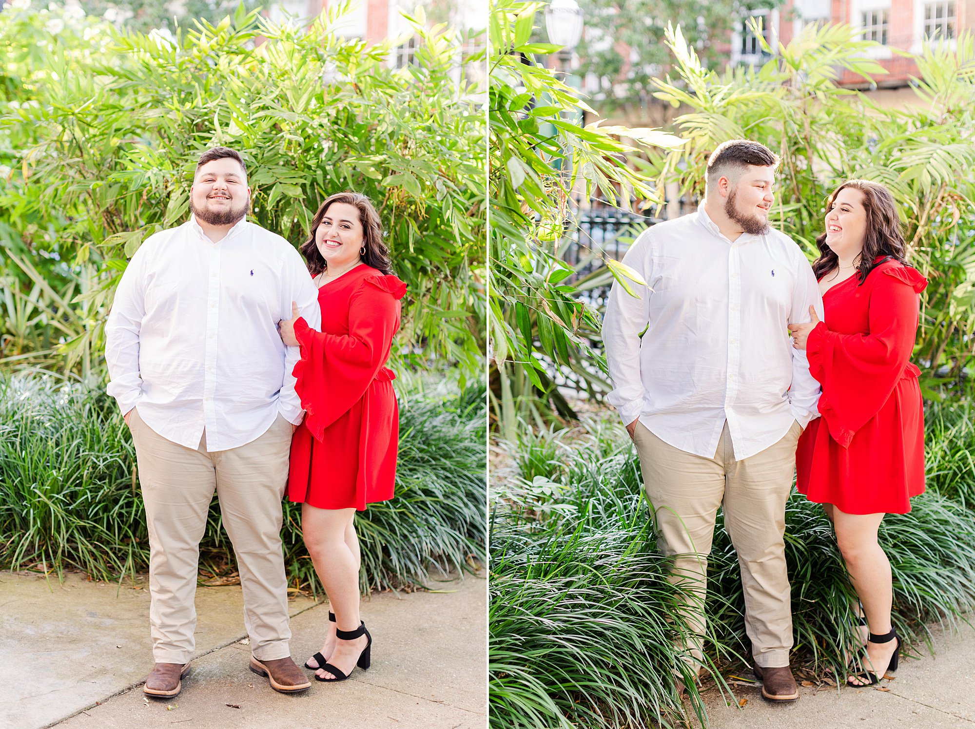 A Bride and Groom at their engagement session in Downtown Mobile, AL