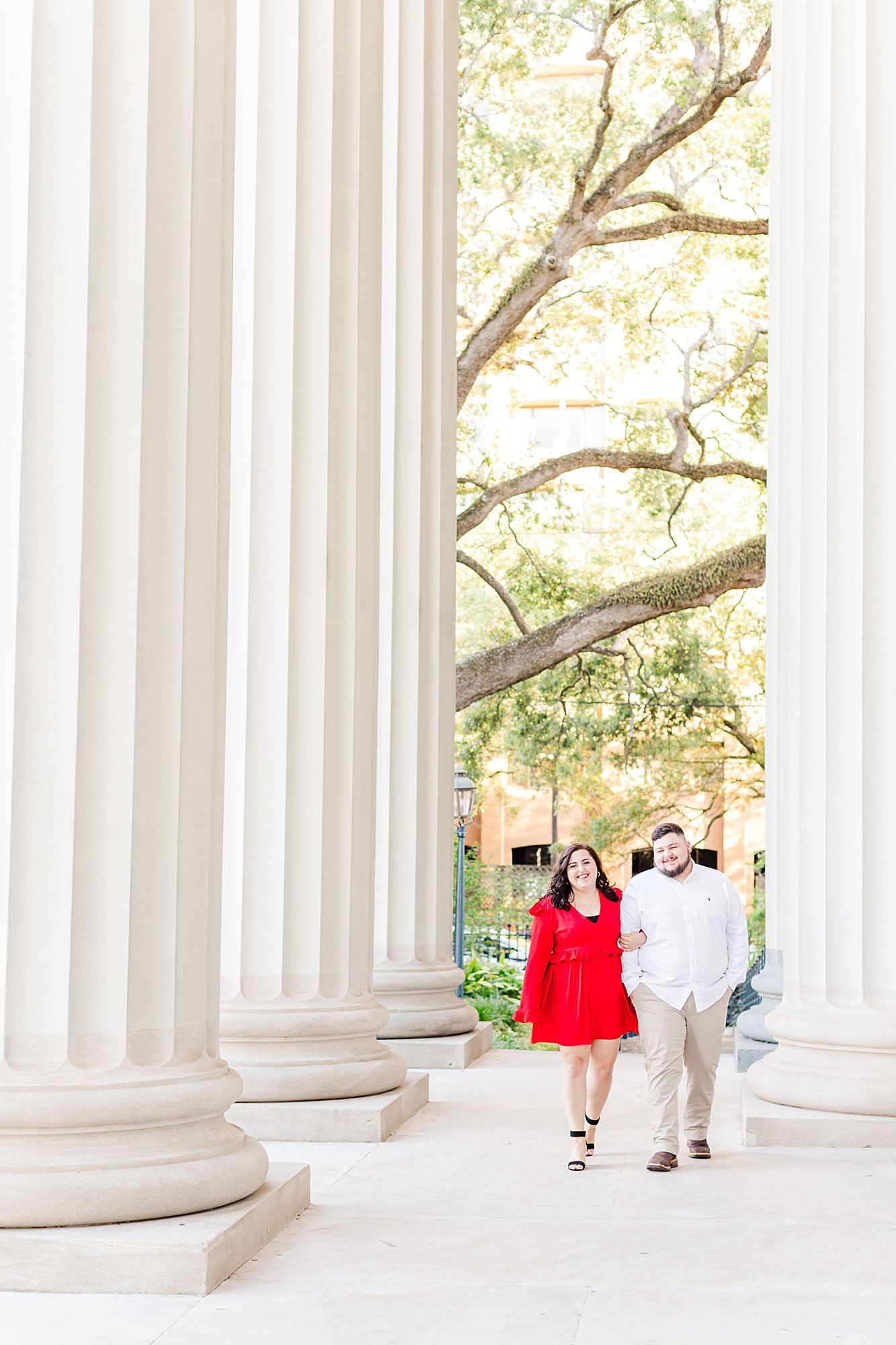 Engaged Couple walking at the Cathedral-Basilica of the Immaculate Conception in downtown Mobile