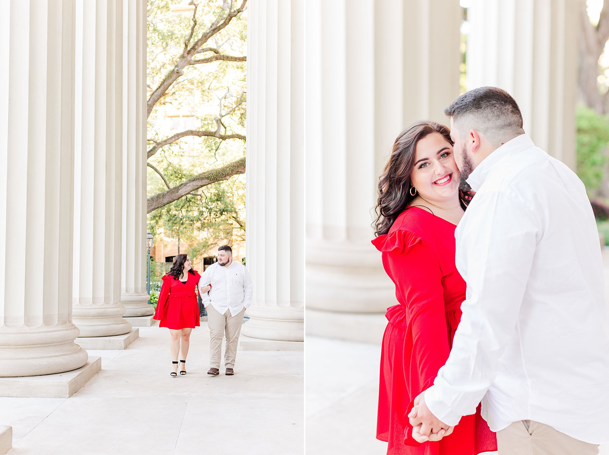Engaged couple walking on the porch of the Cathedral-Basilica of the Immaculate Conception in downtown Mobile, AL