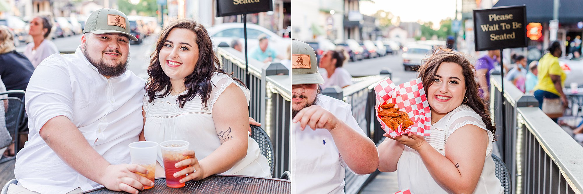 Engaged couple enjoying wings at Heros for their Engagement Session in Downtown Mobile, Alabama