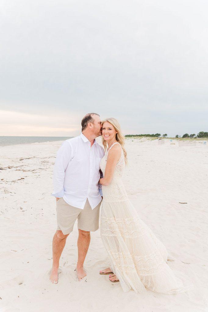 Bride and Groom Beach wedding portrait on Dauphin Island