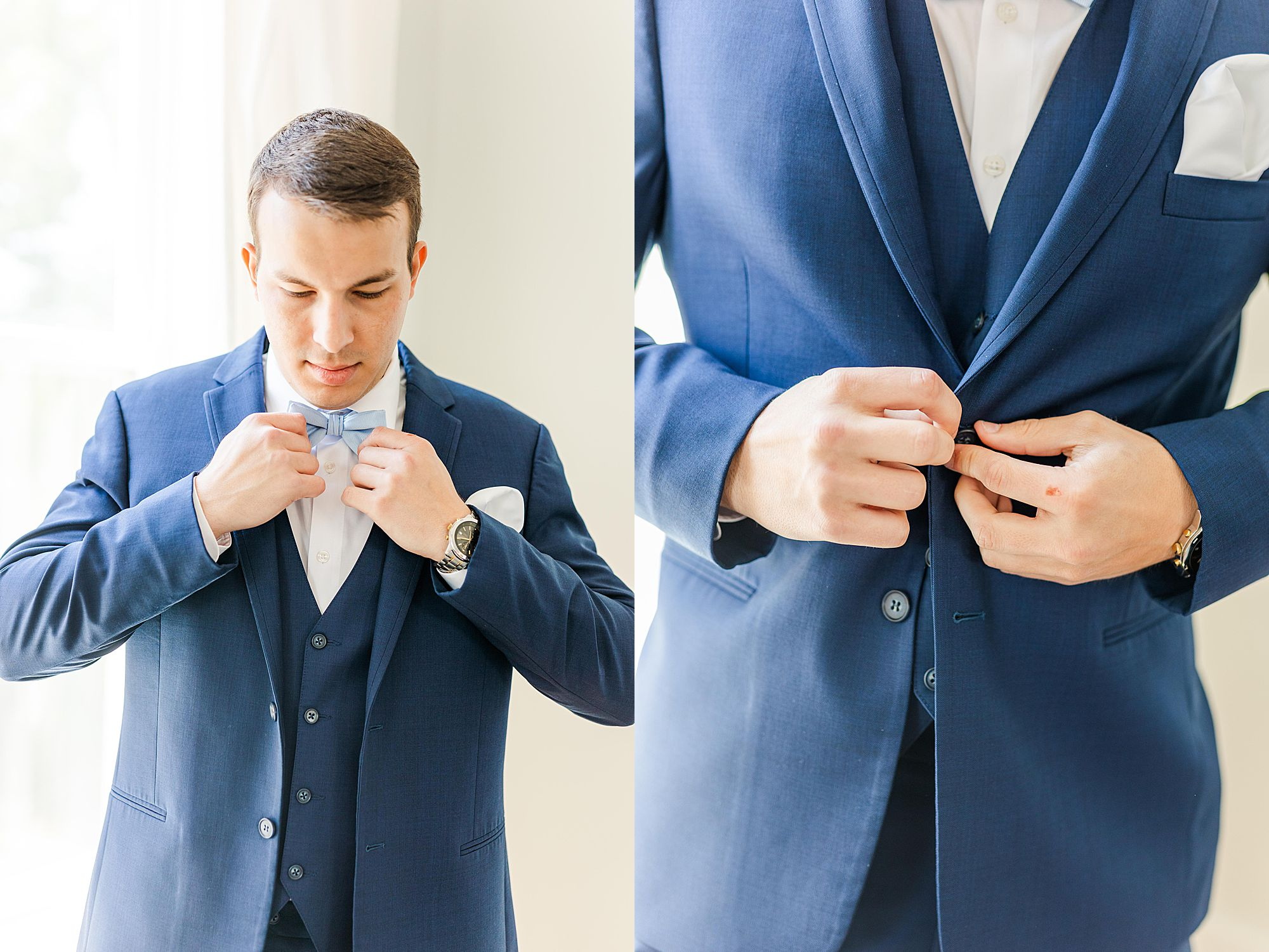 groom getting dressed for wedding day