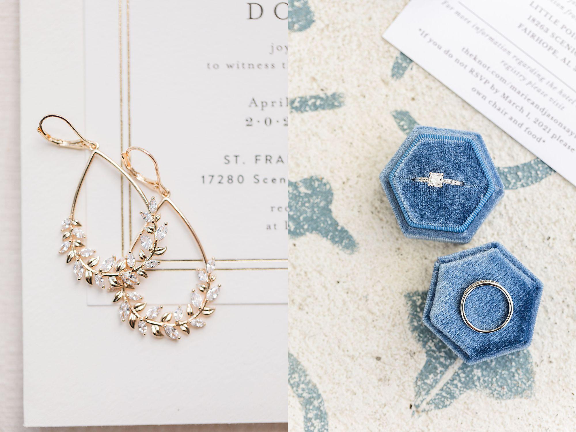 wedding earrings and rings