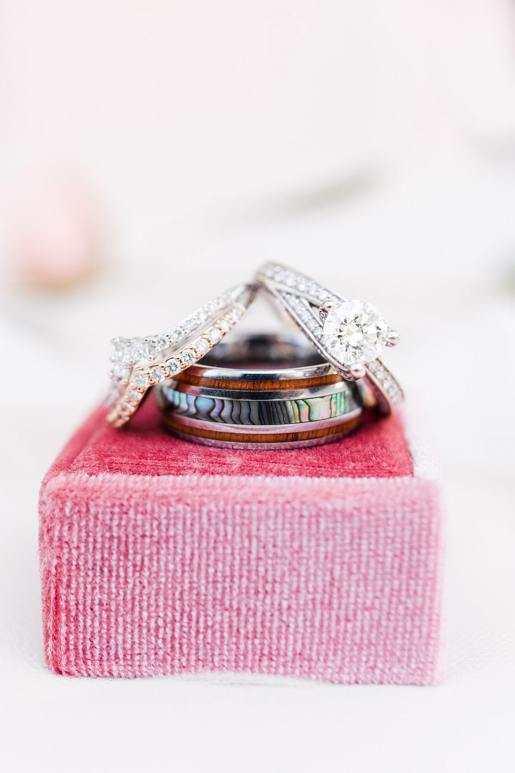 wedding rings with pink box