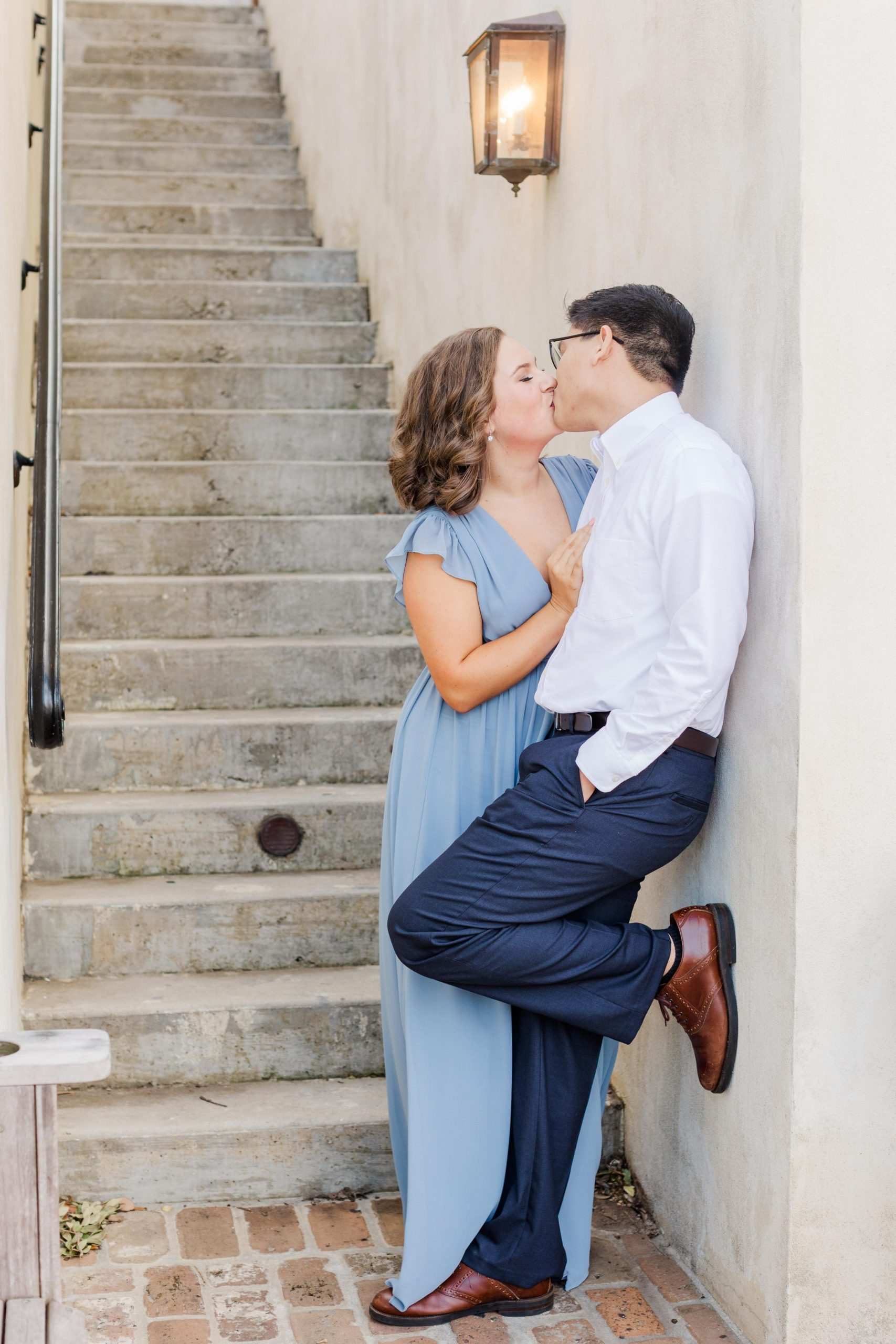 Couple kissing at their Downtown Fairhope Engagement Session