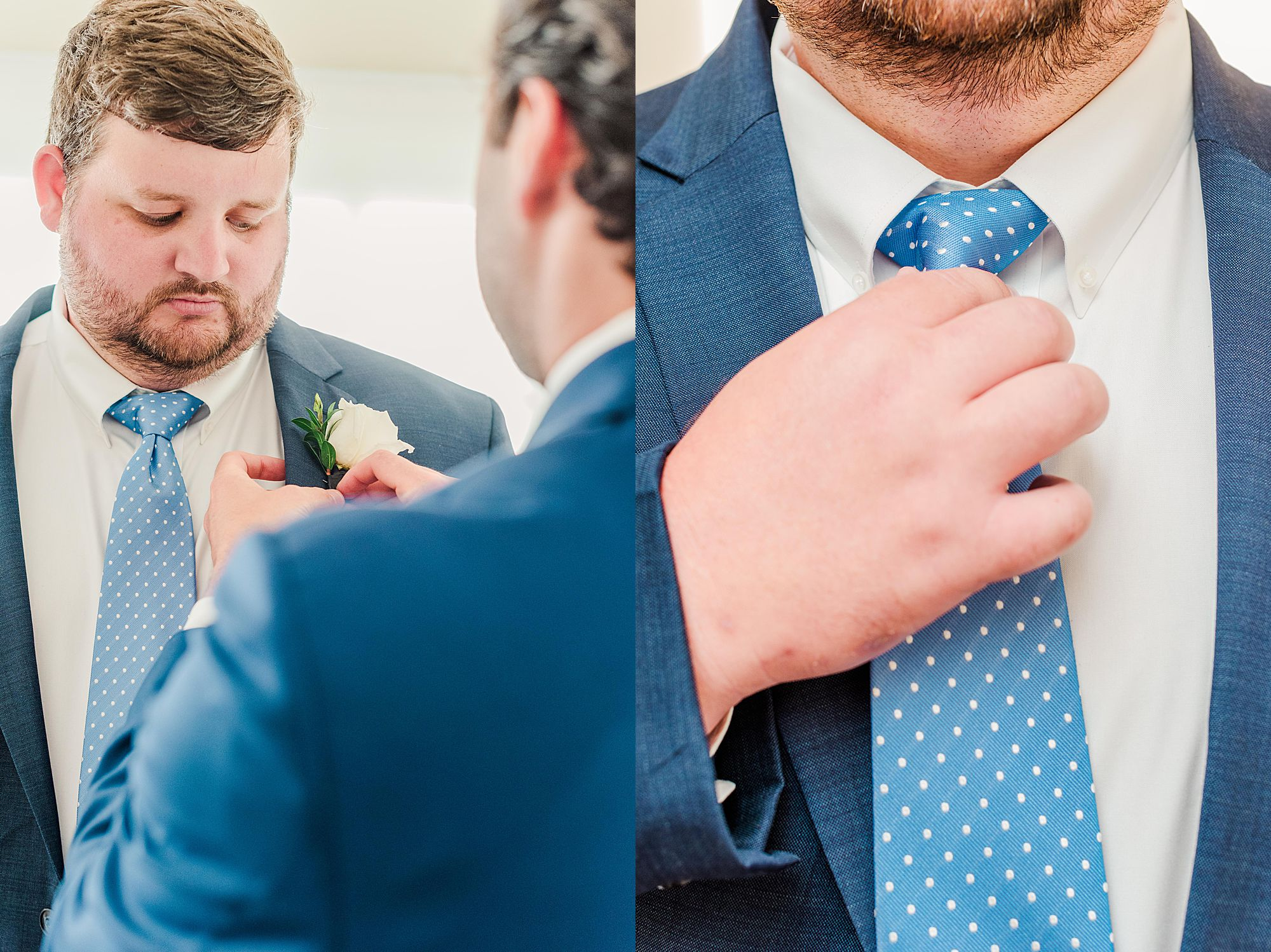 groom getting ready with the help of his best man
