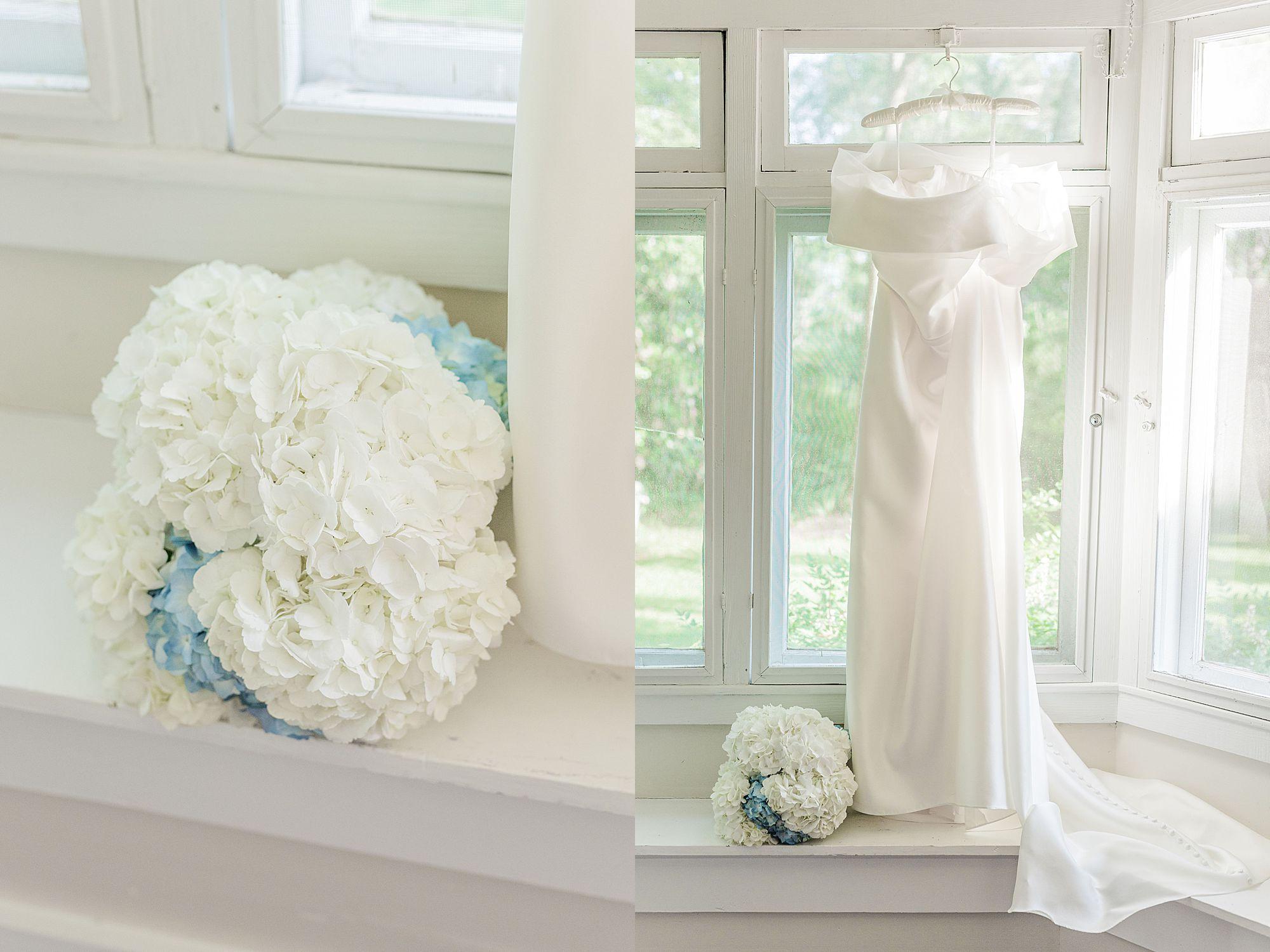 wedding dress and hydrangea bouquet