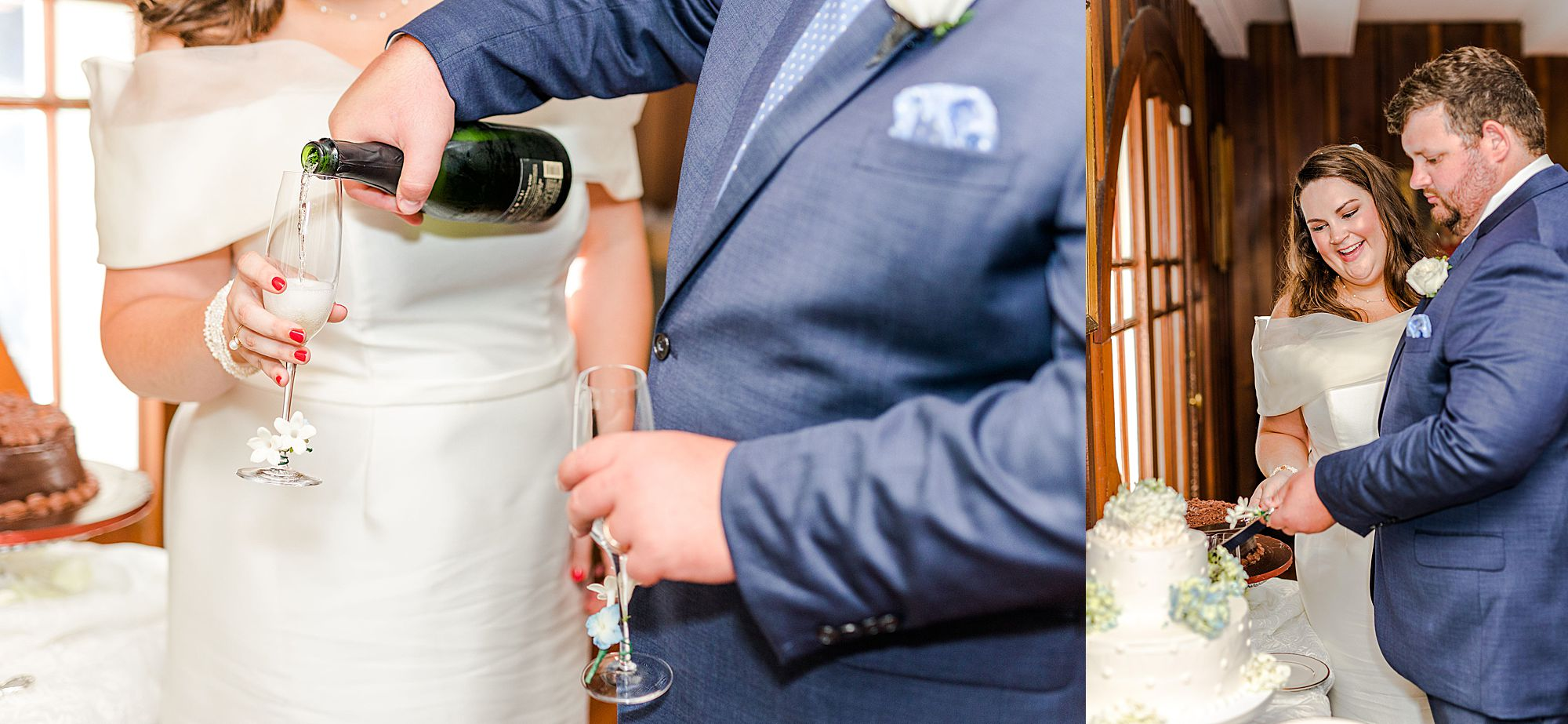 cake cutting and champagne toast